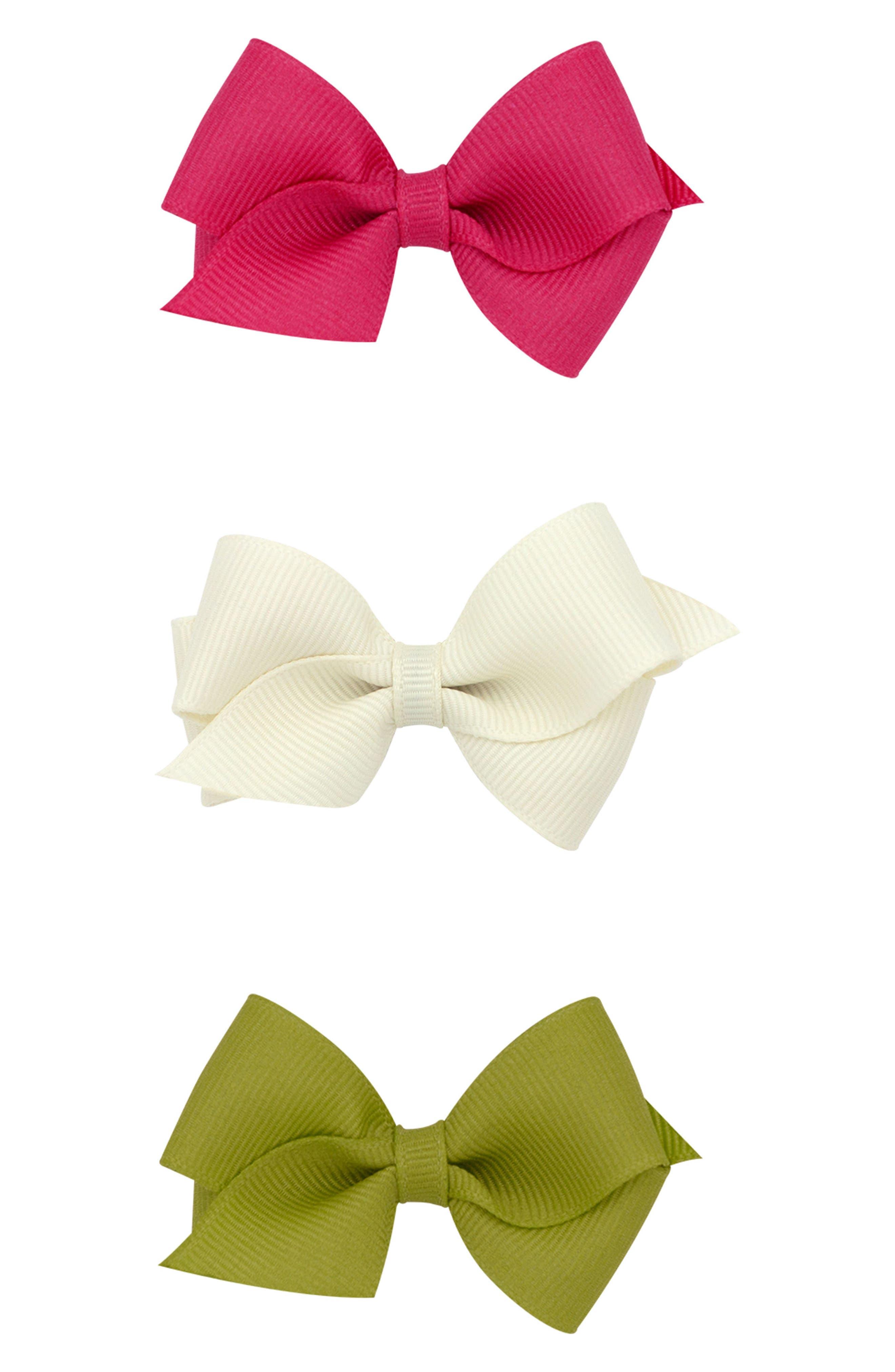 Set of 3 Wee Bow Hair Clips,                             Main thumbnail 1, color,                             300