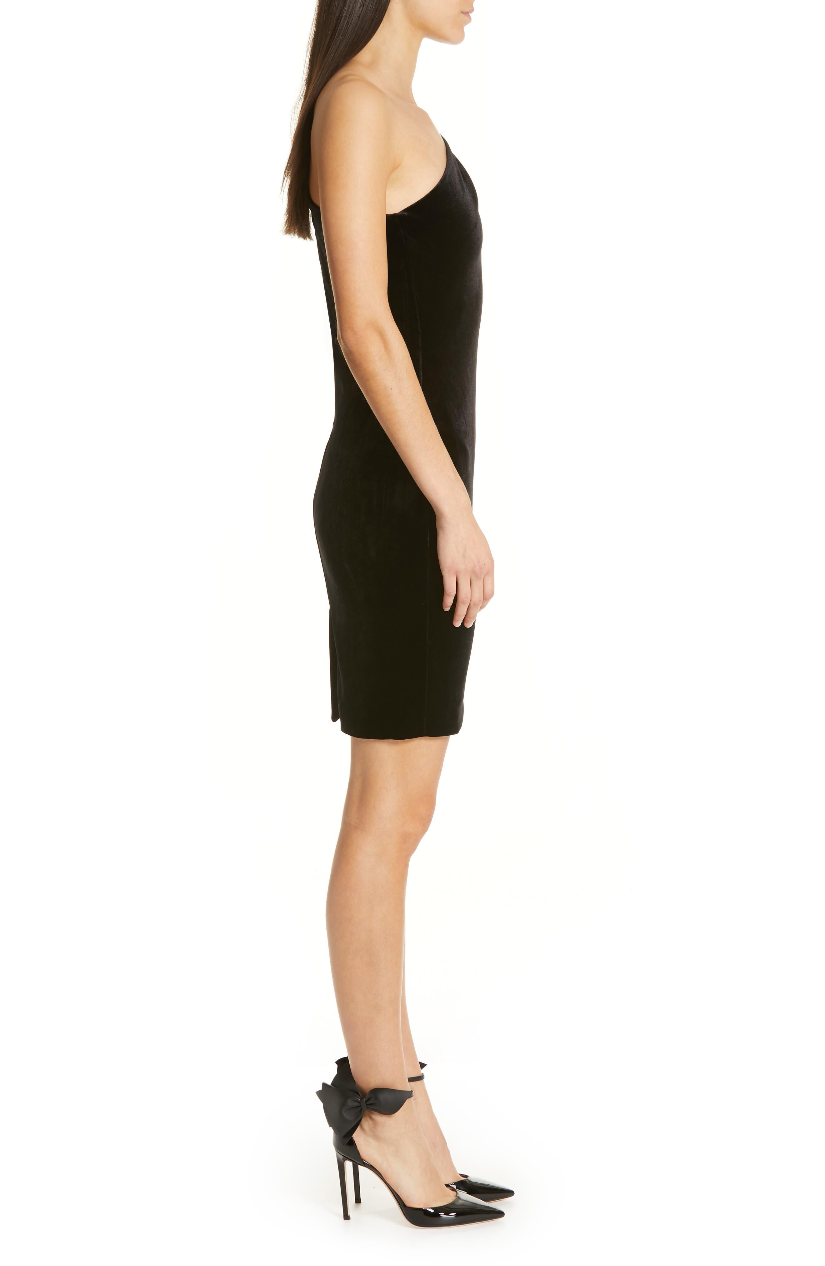 Awwtum One-Shoulder Velvet Body-Con Dress,                             Alternate thumbnail 3, color,                             BLACK