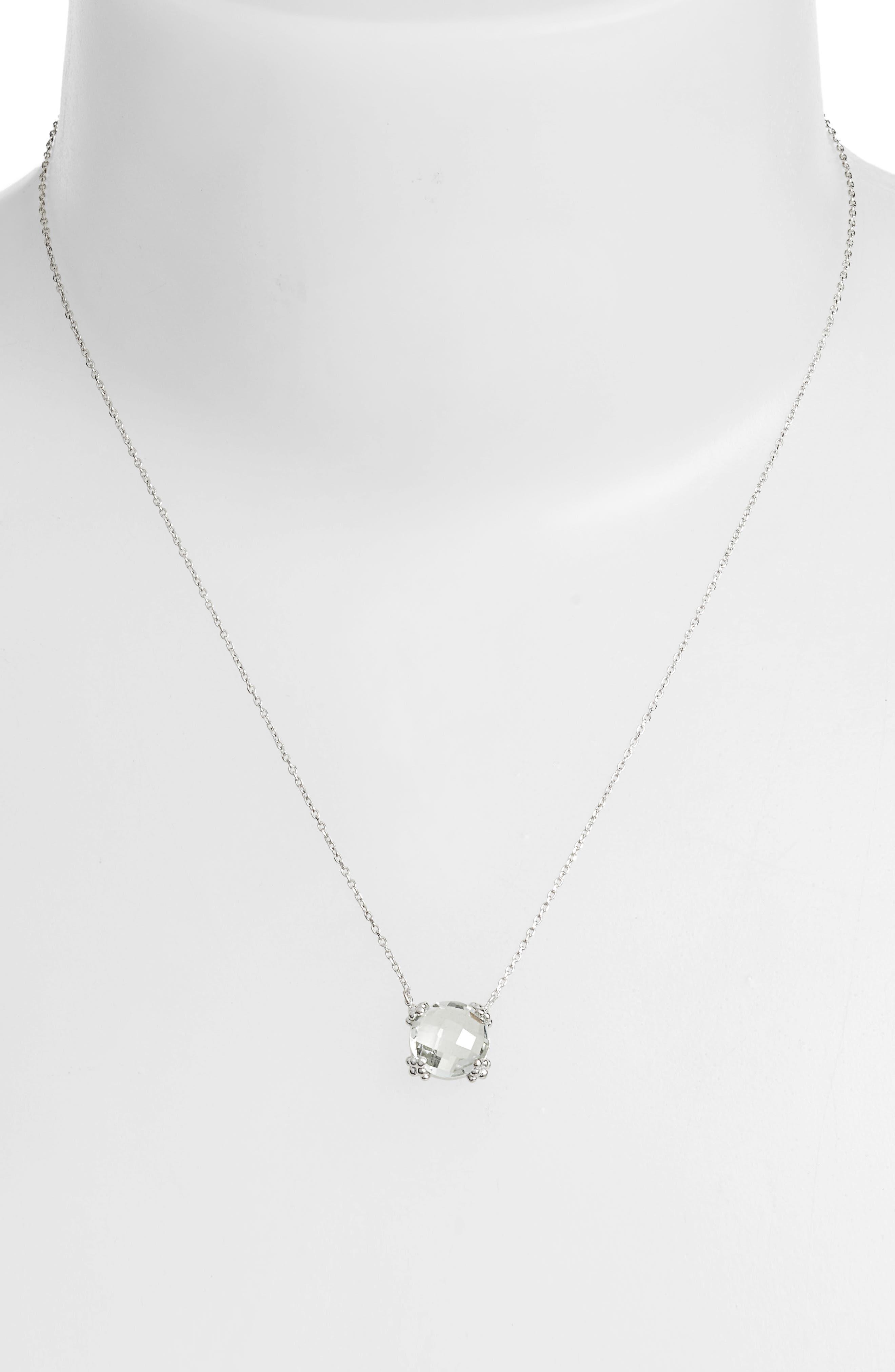 Dew Drop Cluster Topaz Pendant Necklace,                             Alternate thumbnail 2, color,                             GREEN AMETHYST