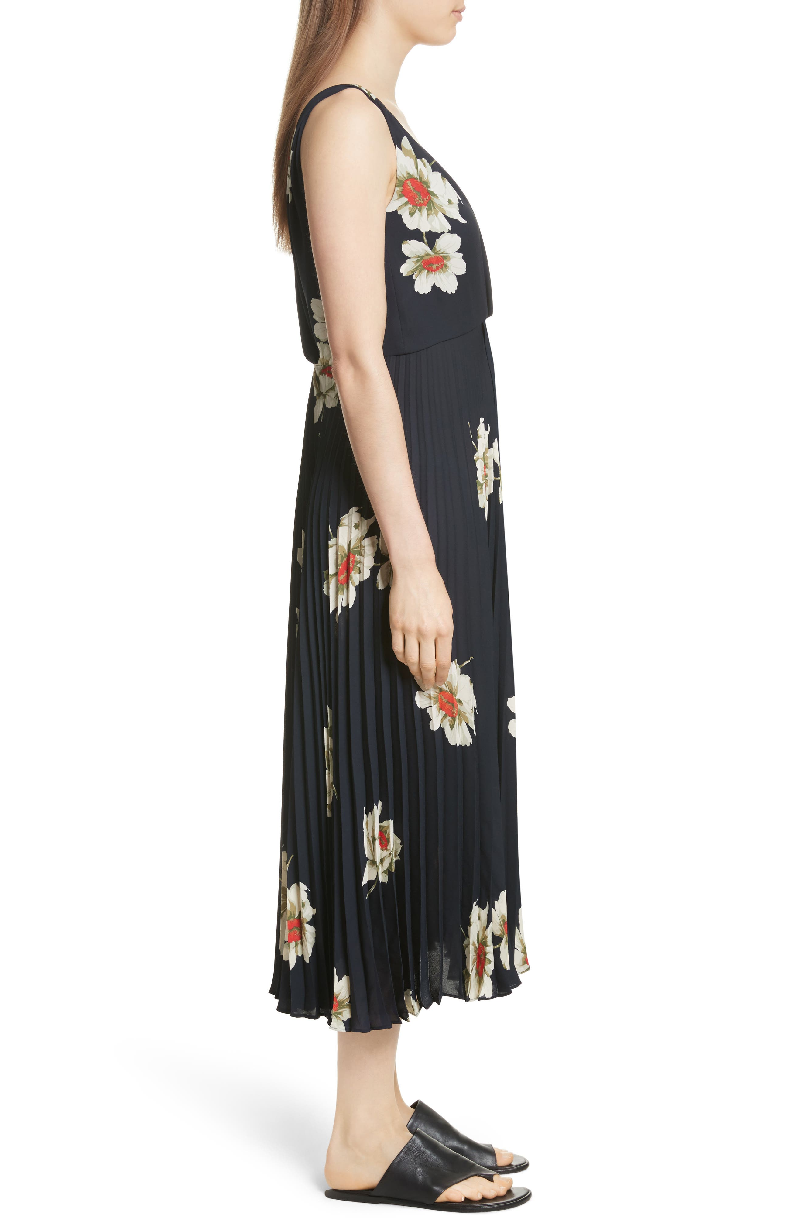 Gardenia Floral Midi Dress,                             Alternate thumbnail 3, color,                             403