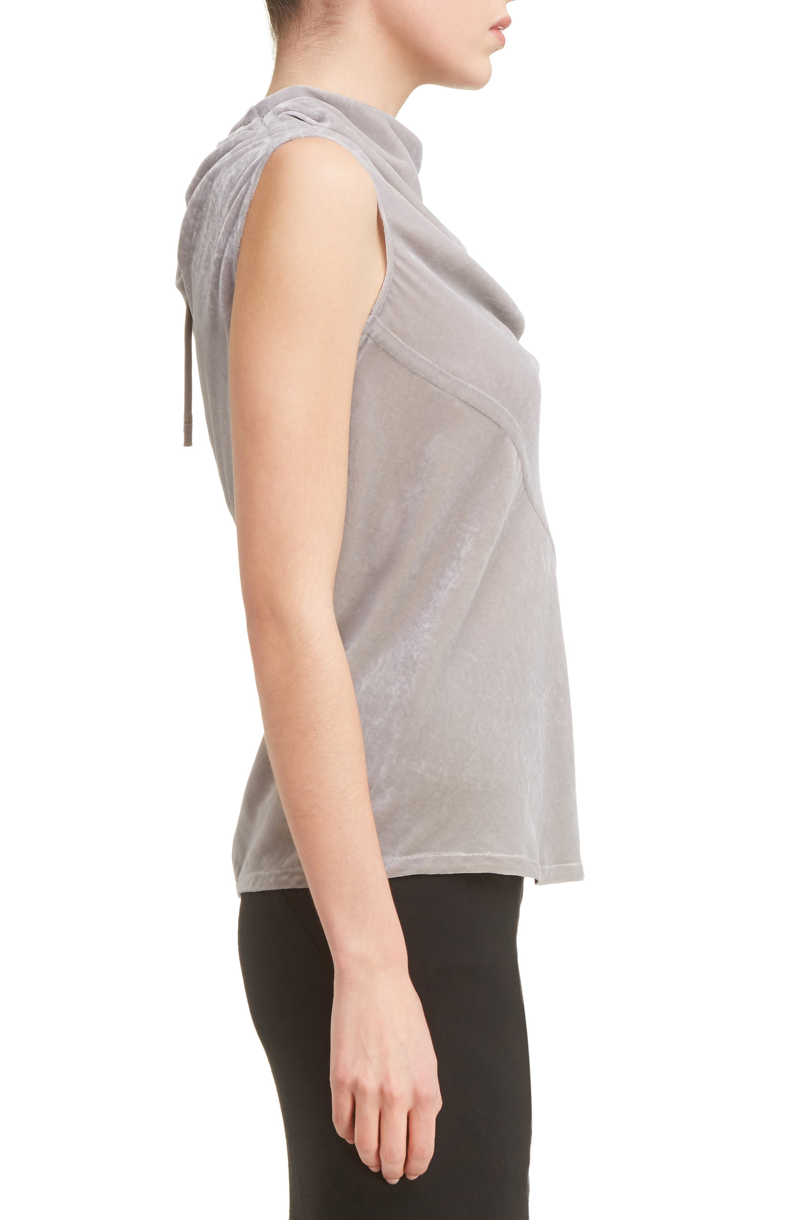 Velvet Drape Neck Top,                             Alternate thumbnail 3, color,                             020