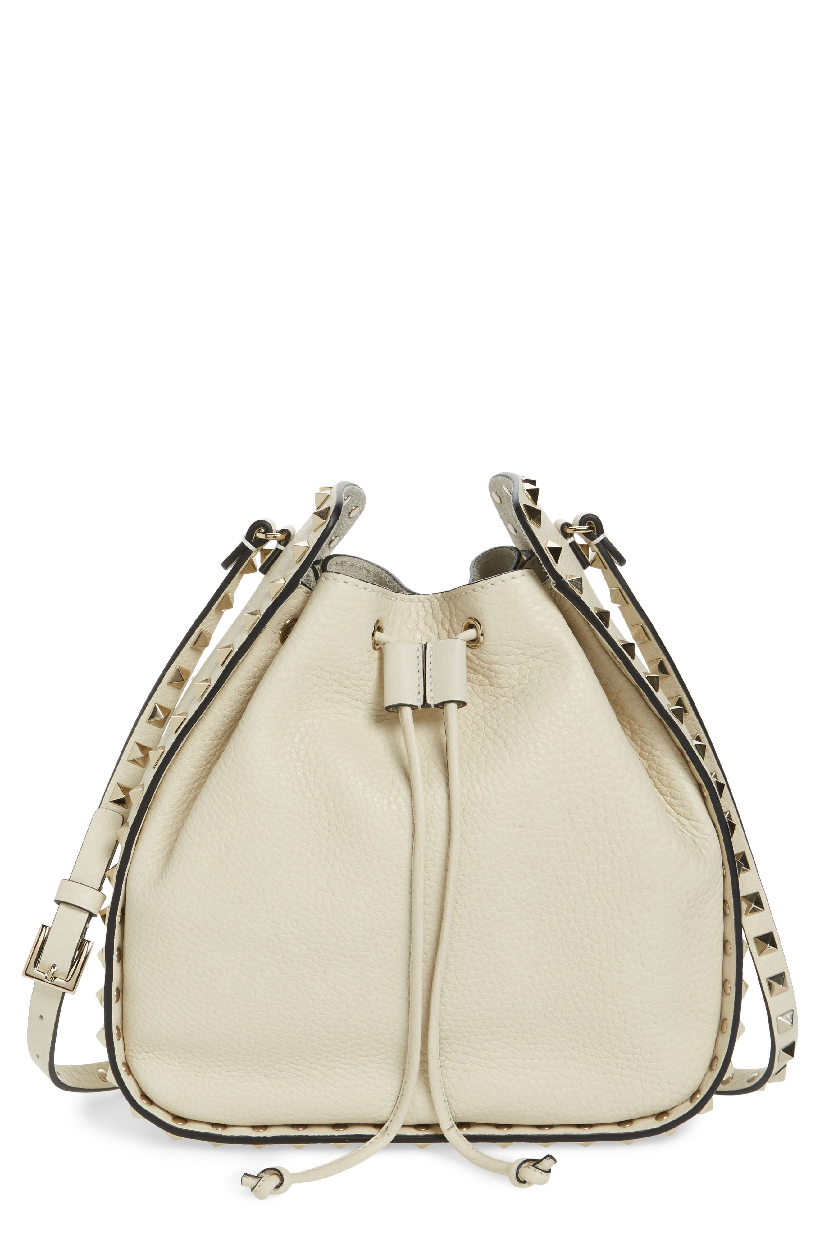 Large Rockstud Leather Bucket Bag,                             Main thumbnail 1, color,                             IVORY