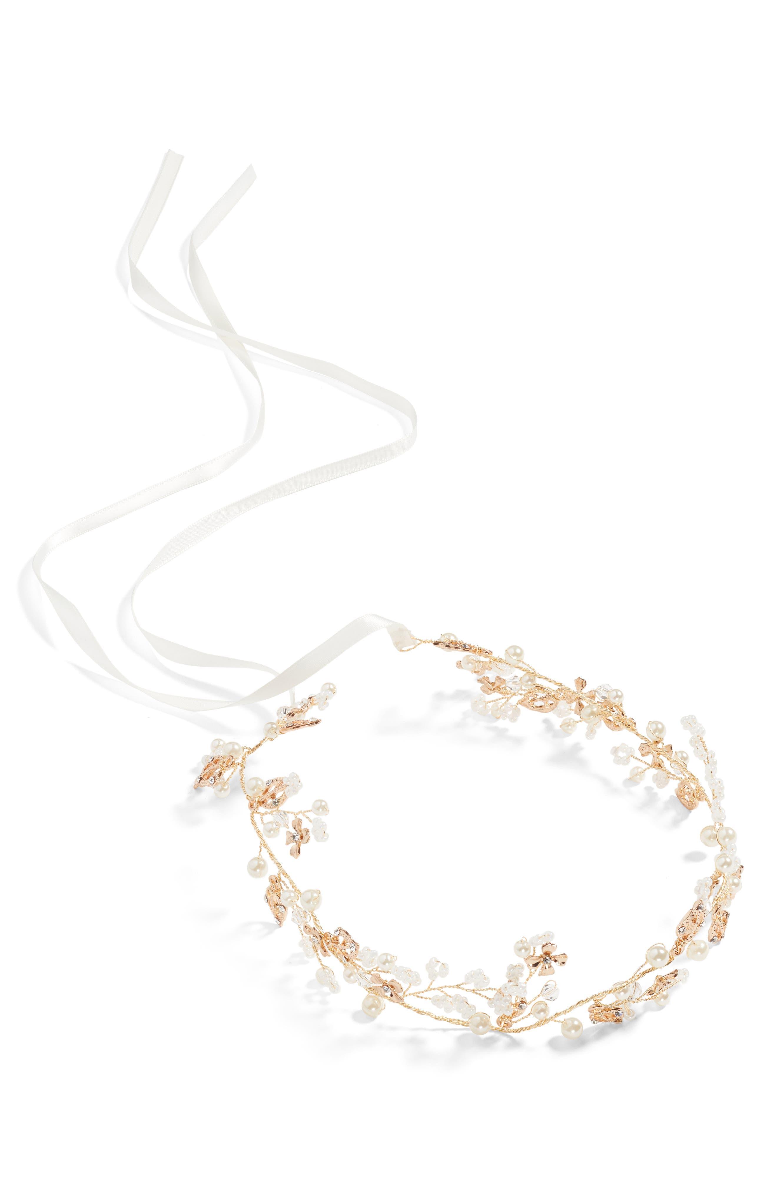 J-PICONE Imitation Pearl & Crystal Headband, Main, color, 710