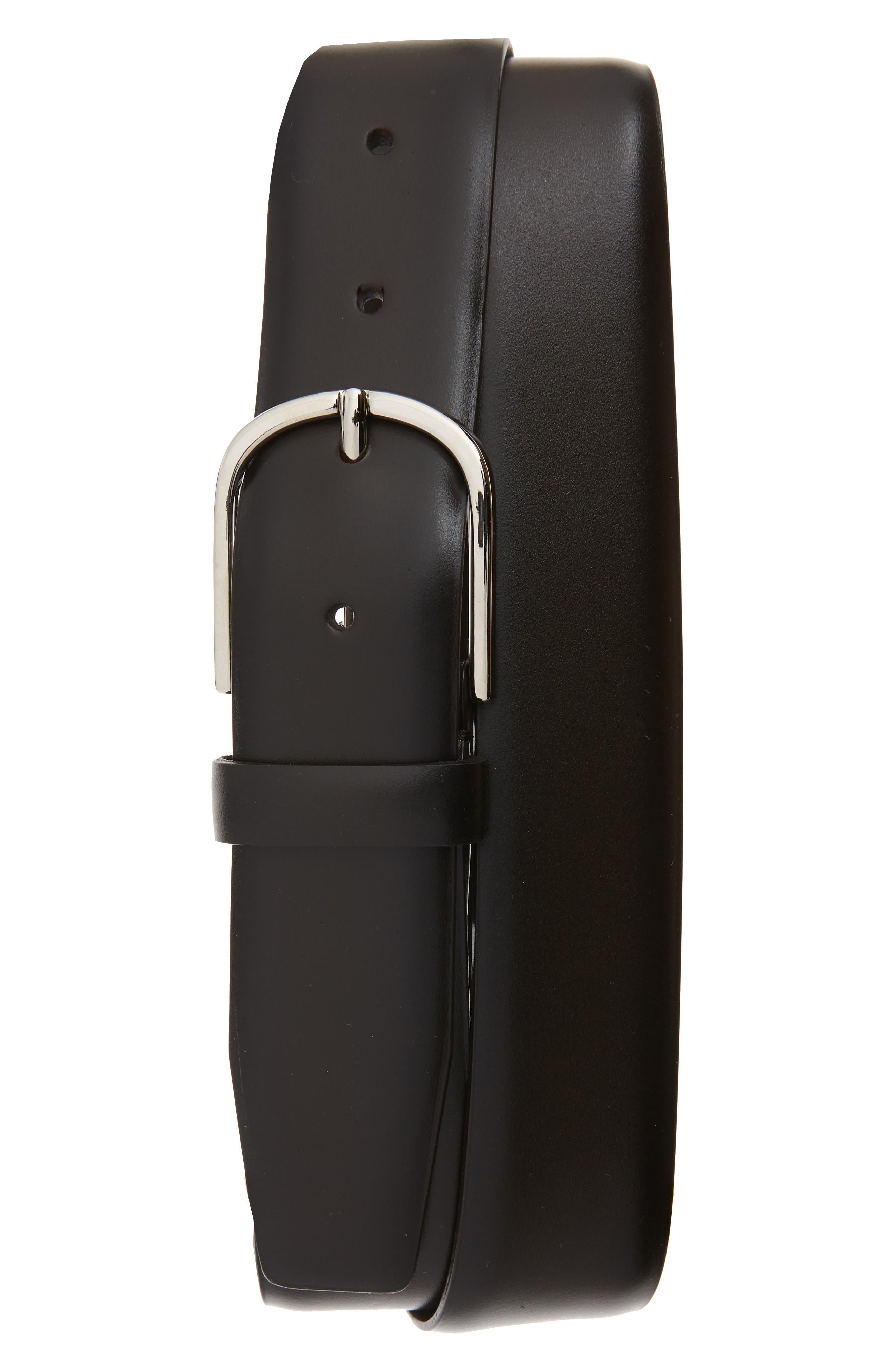 Leather Belt,                         Main,                         color, DARK BROWN