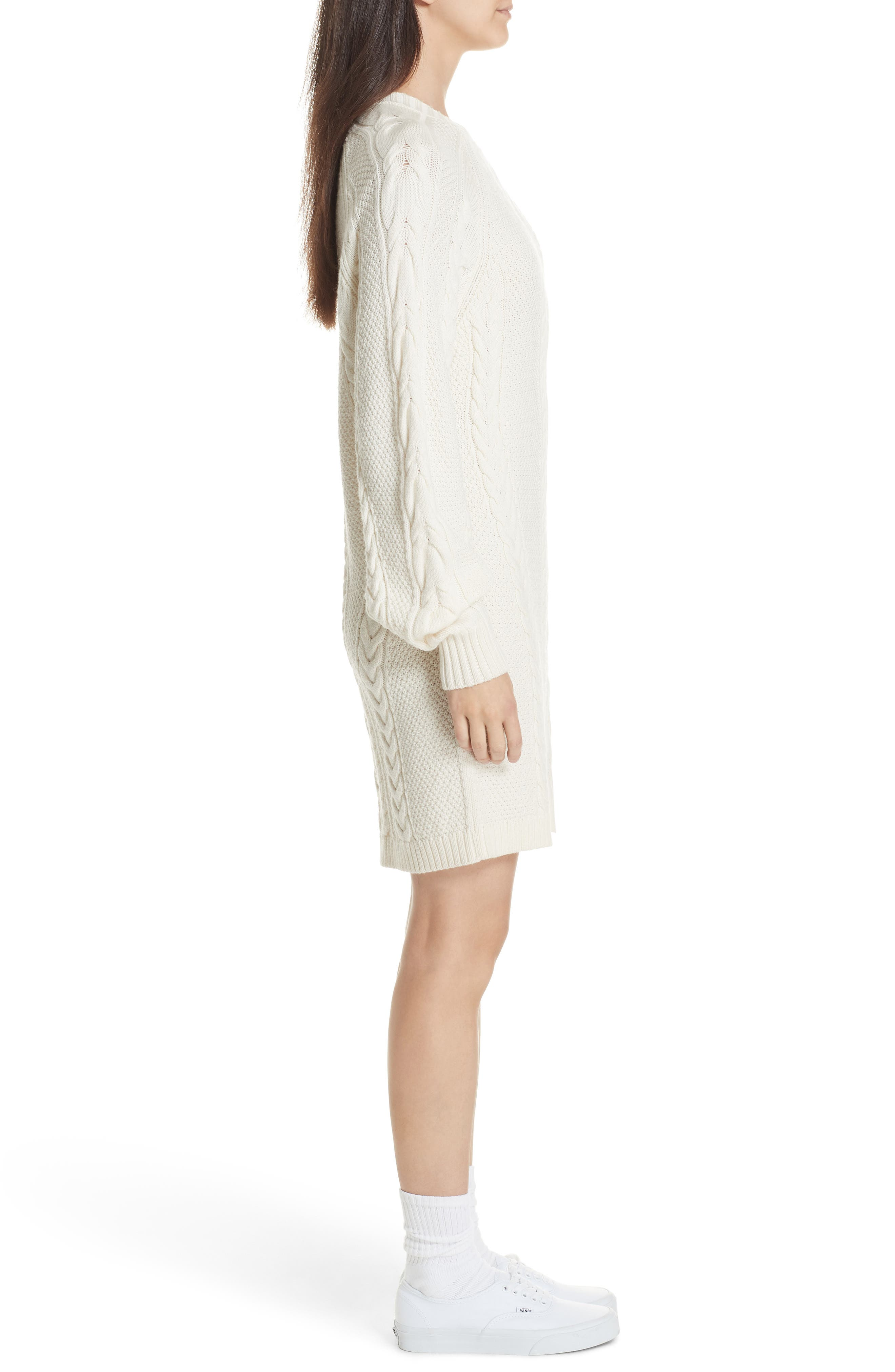 Cable Sweater Dress,                             Alternate thumbnail 3, color,                             CREAM