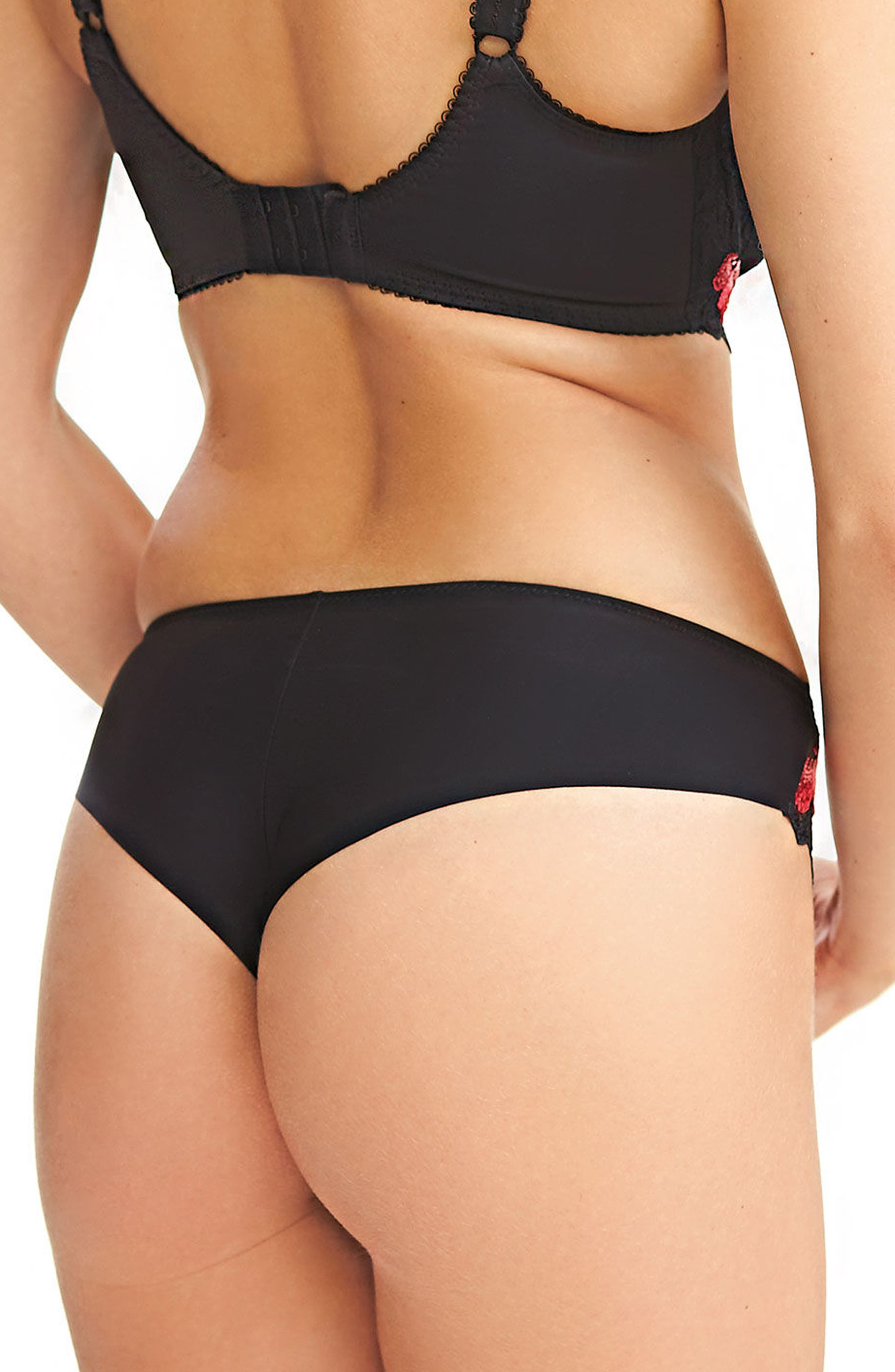 Leona Embroidered Thong,                             Alternate thumbnail 2, color,                             001