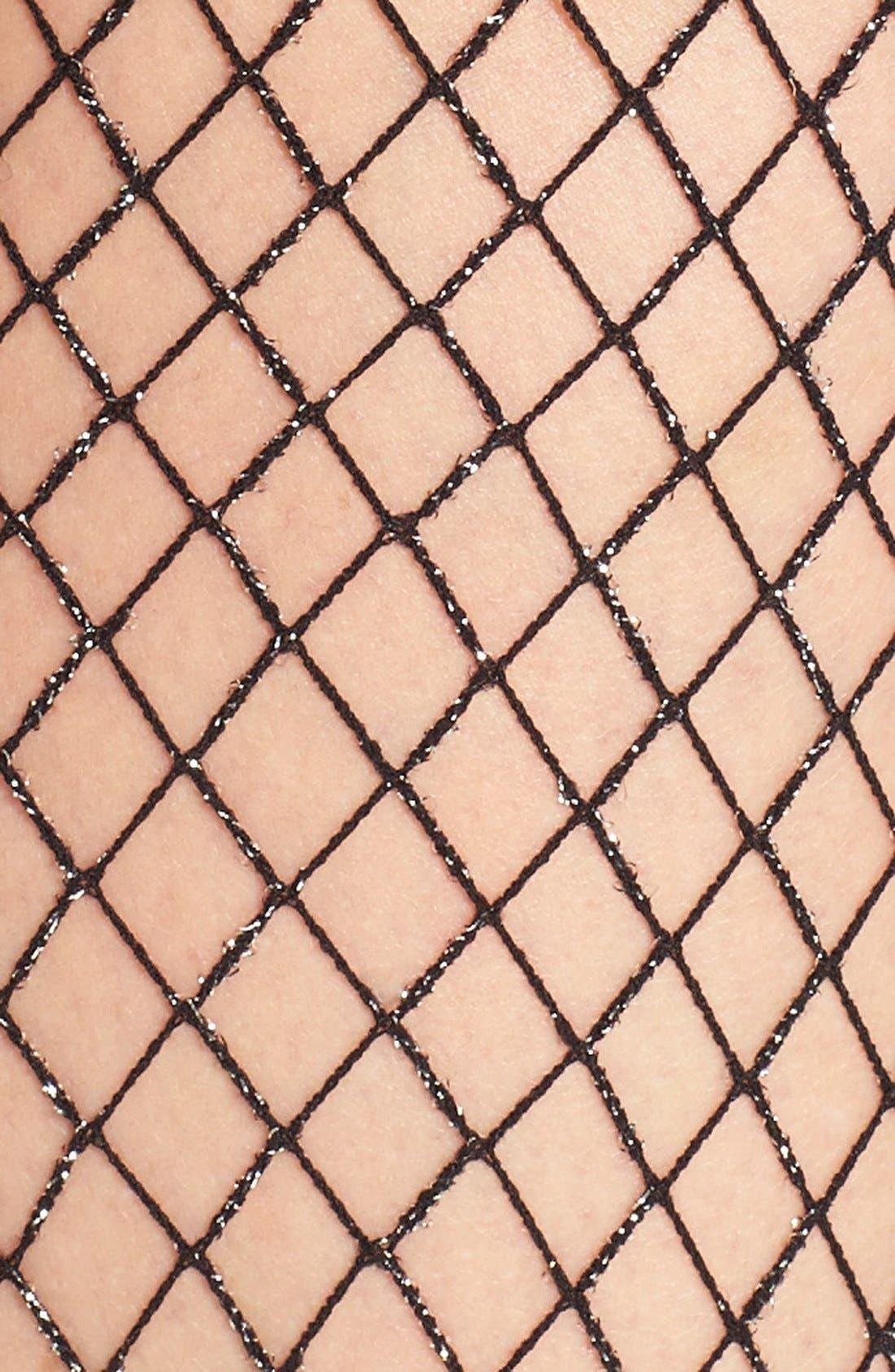 Oversize Metallic Fishnet Tights,                             Alternate thumbnail 2, color,                             001