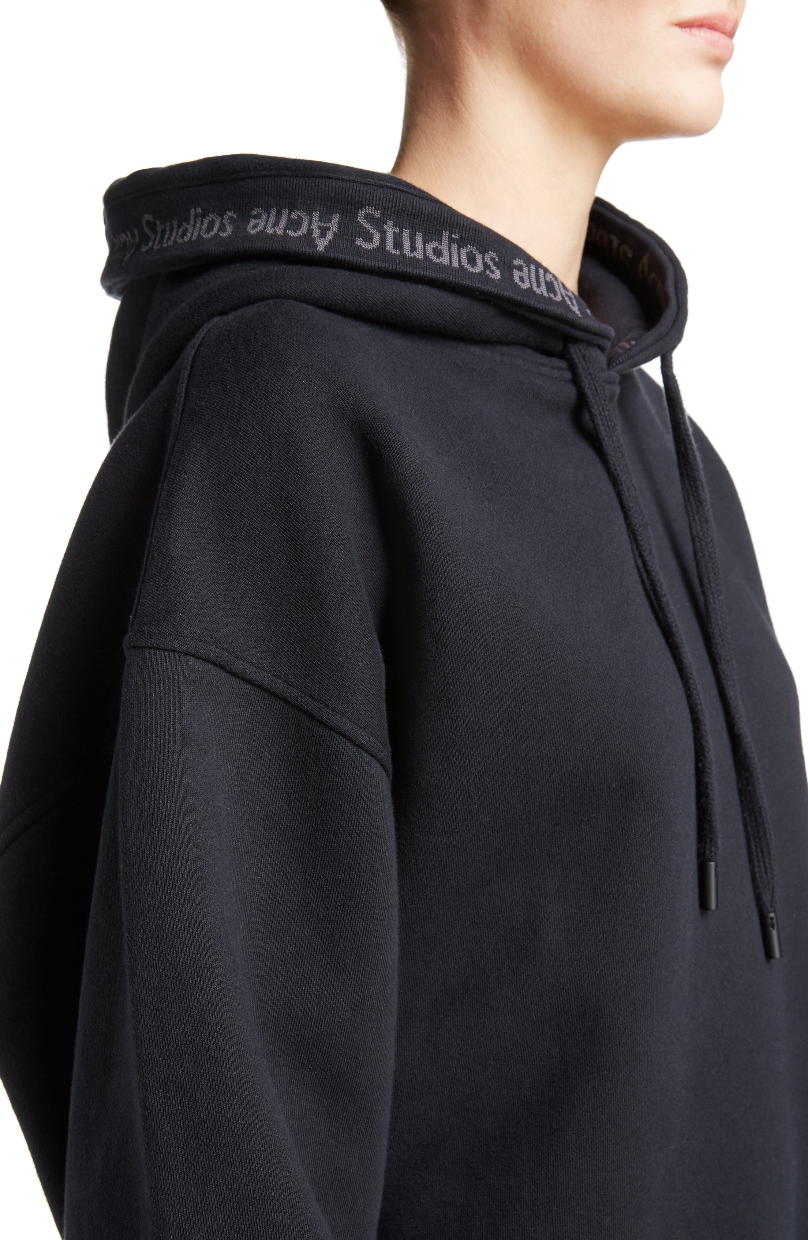ACNE STUDIOS,                             Yala Oversize Hoodie,                             Alternate thumbnail 4, color,                             001