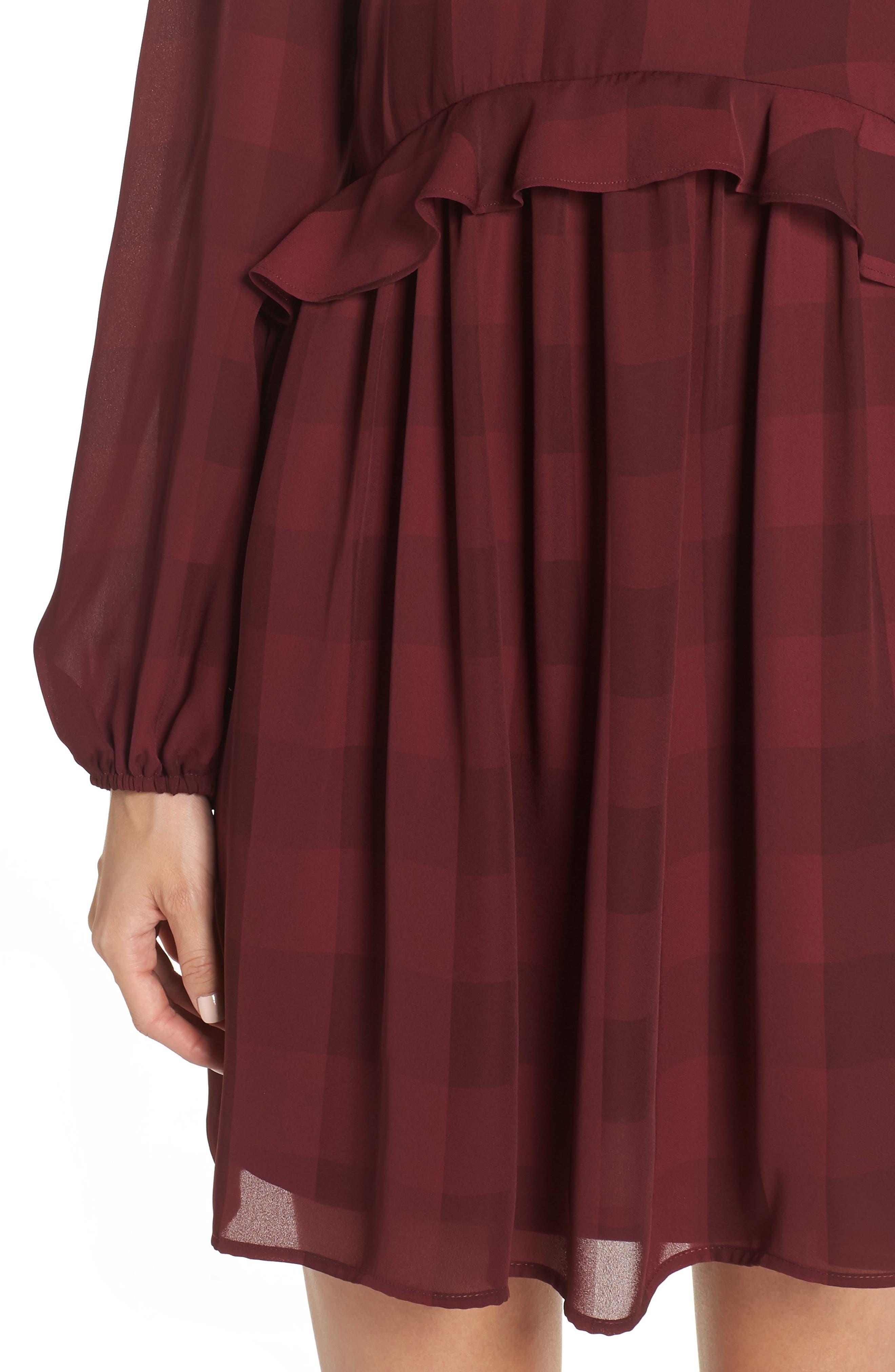 Heidi Ruffle Stripe Minidress,                             Alternate thumbnail 4, color,                             BURGUNDY