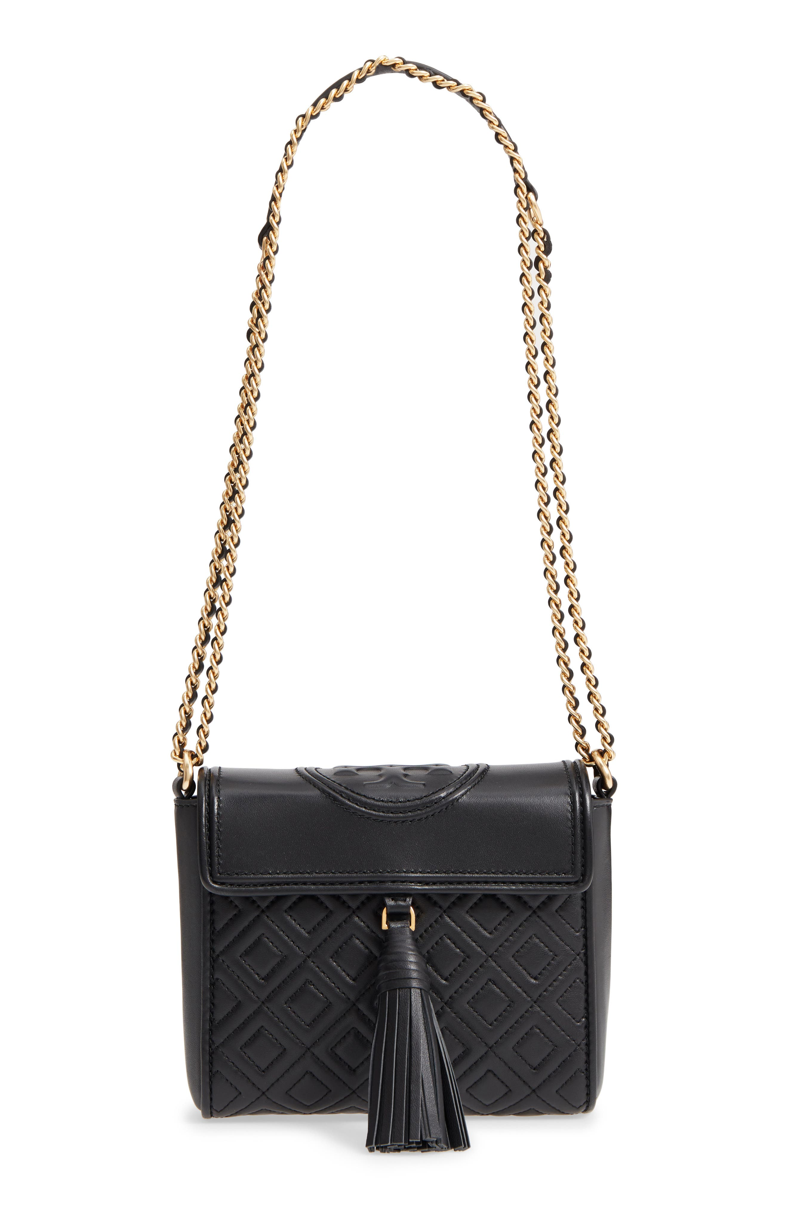 Fleming Quilted Leather Crossbody Bag,                             Main thumbnail 1, color,                             001