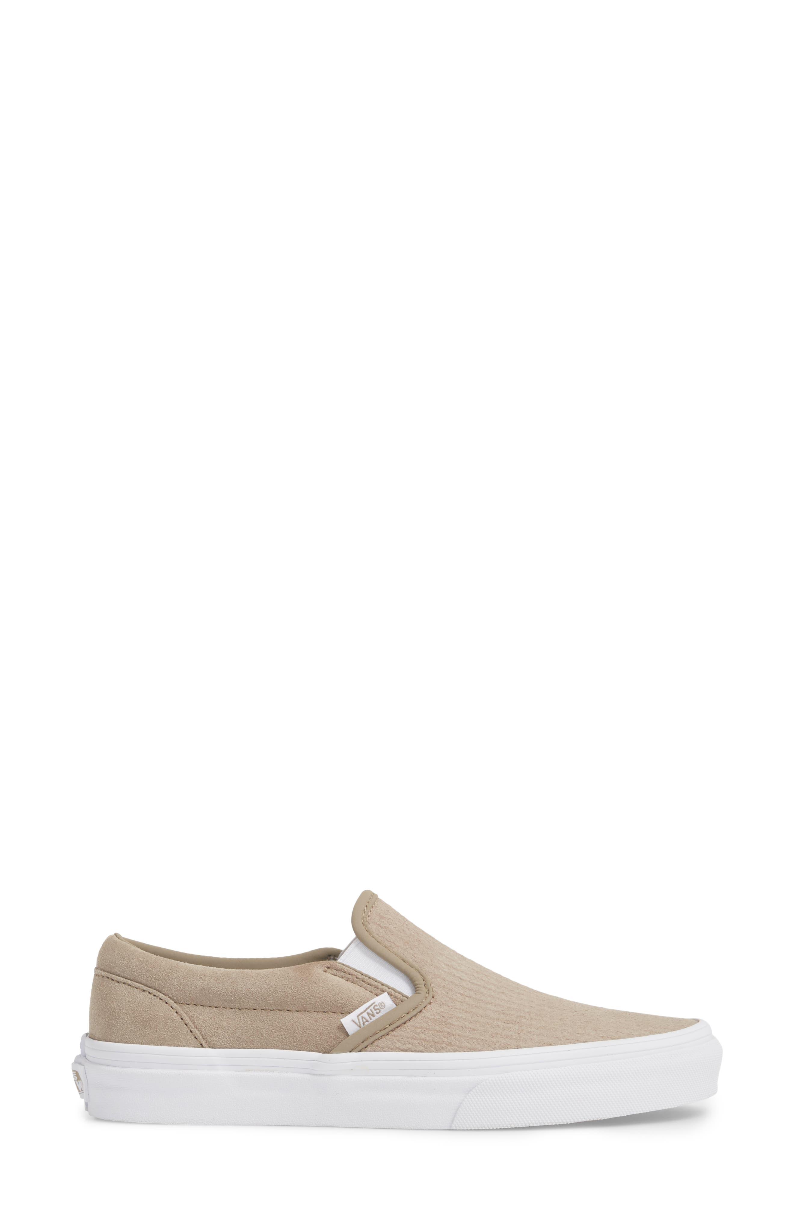 Classic Slip-On Sneaker,                             Alternate thumbnail 3, color,                             DESERT TAUPE/ EMBOSS SUEDE