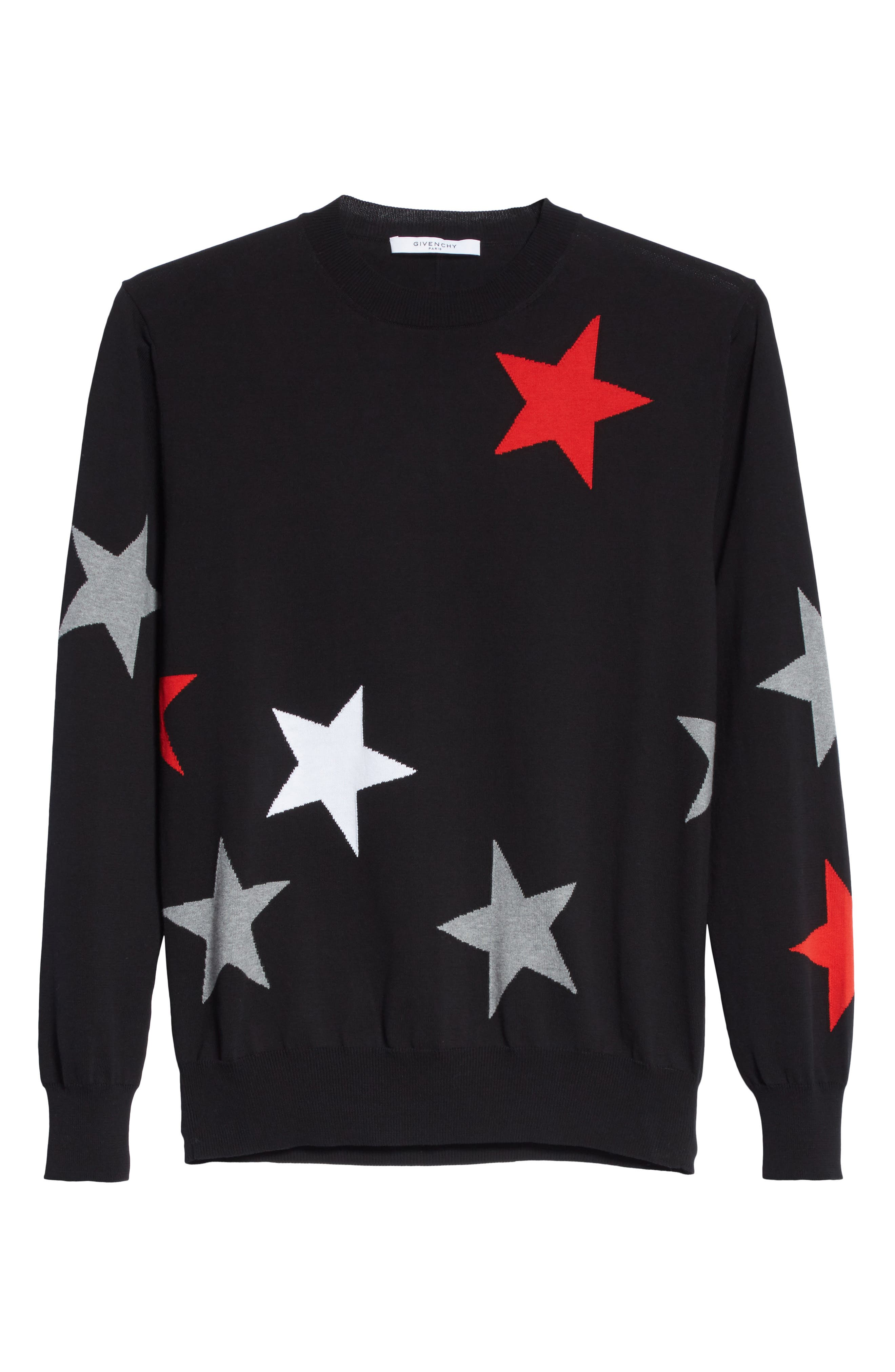 Star Crewneck Sweater,                             Alternate thumbnail 6, color,                             001