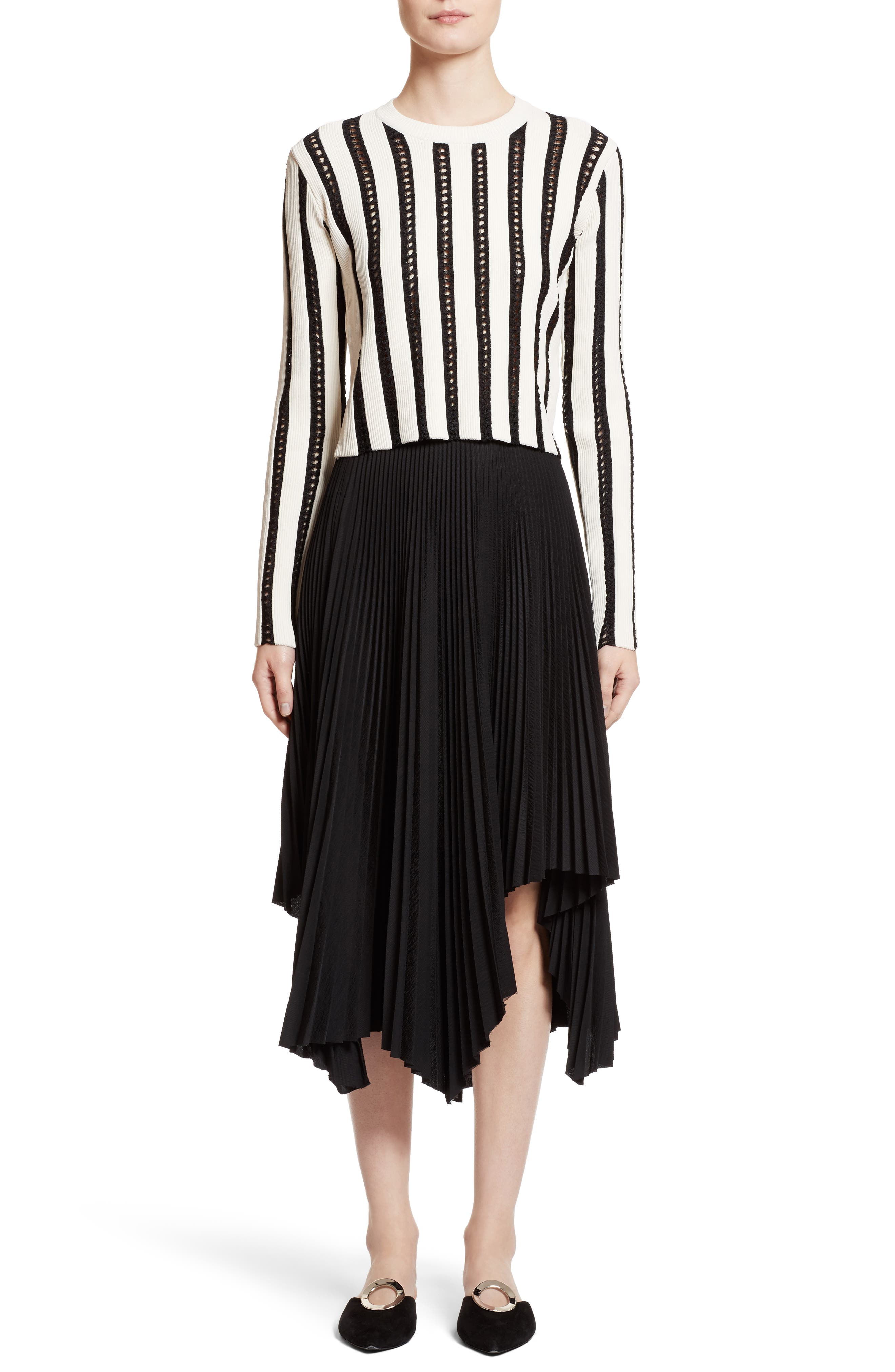 Pleated Handkerchief Hem Skirt,                             Alternate thumbnail 6, color,                             001