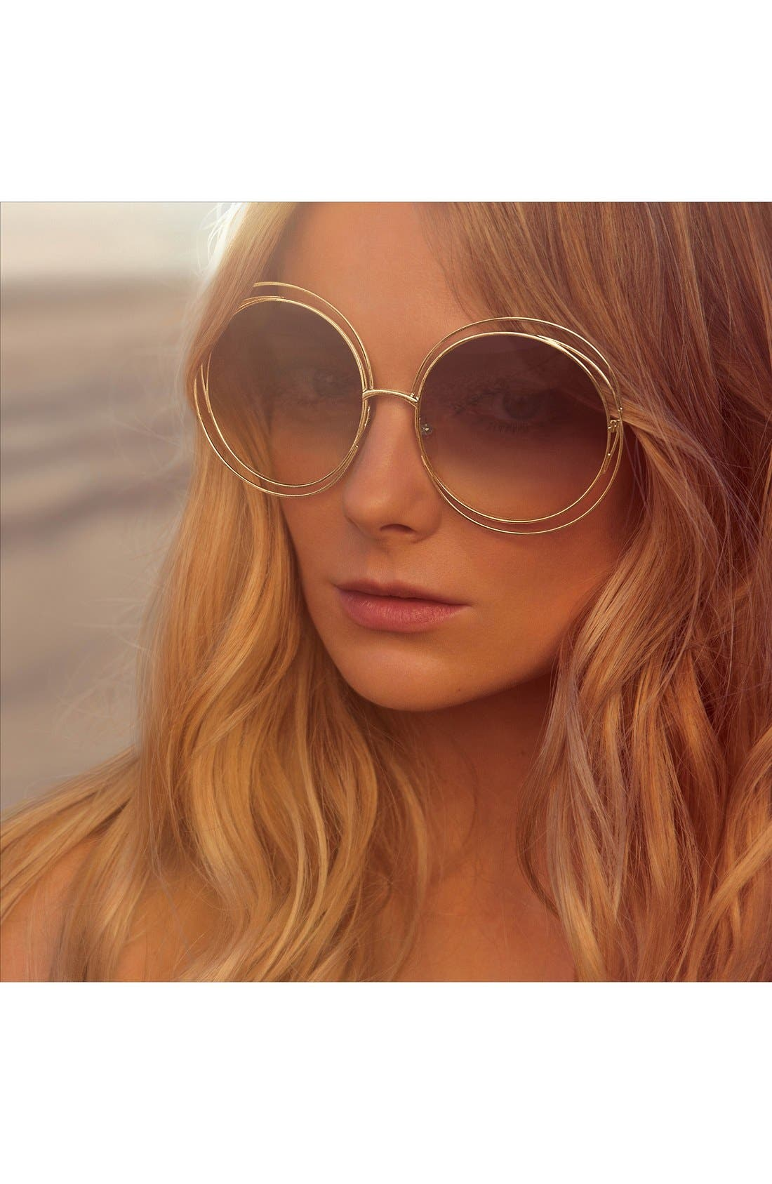 62mm Oversize Sunglasses,                             Alternate thumbnail 3, color,                             GOLD/ TRANSPARENT PEACH