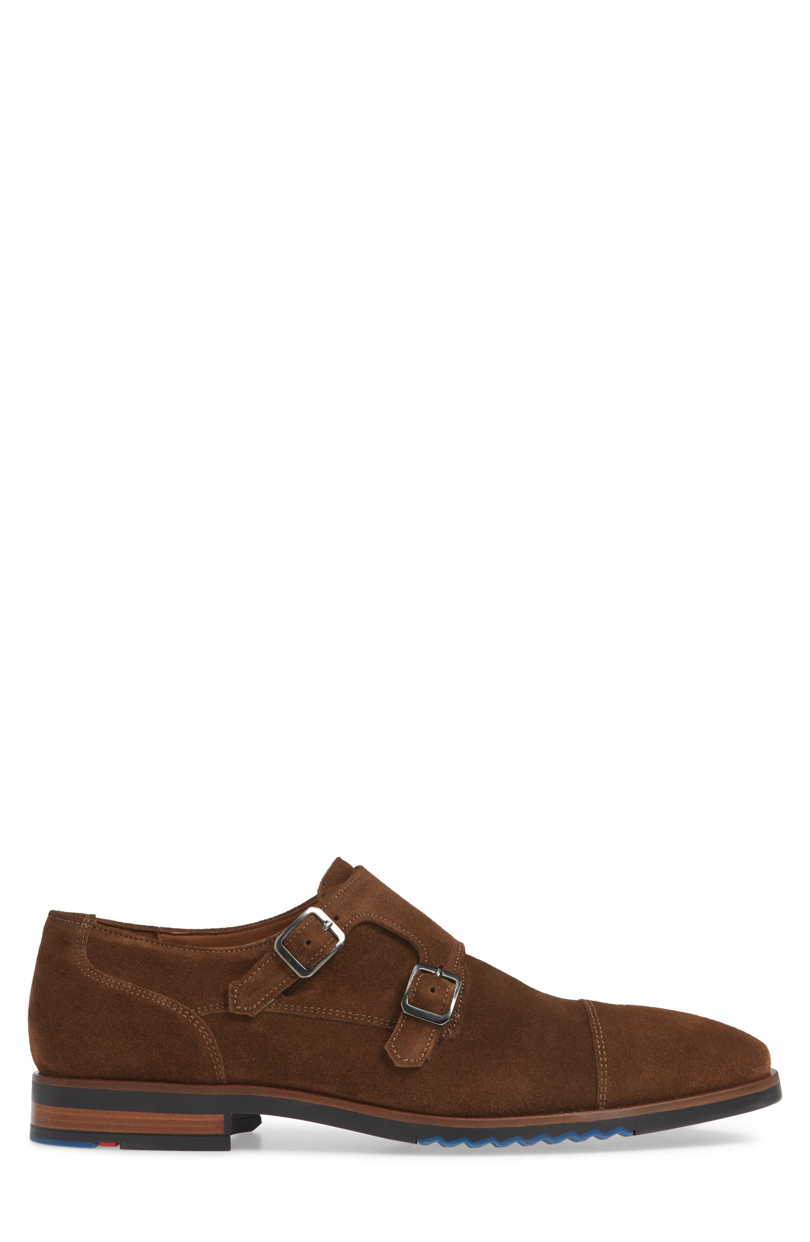 Darrow Double Monk Strap Shoe,                             Alternate thumbnail 3, color,                             CIGAR BROWN SUEDE