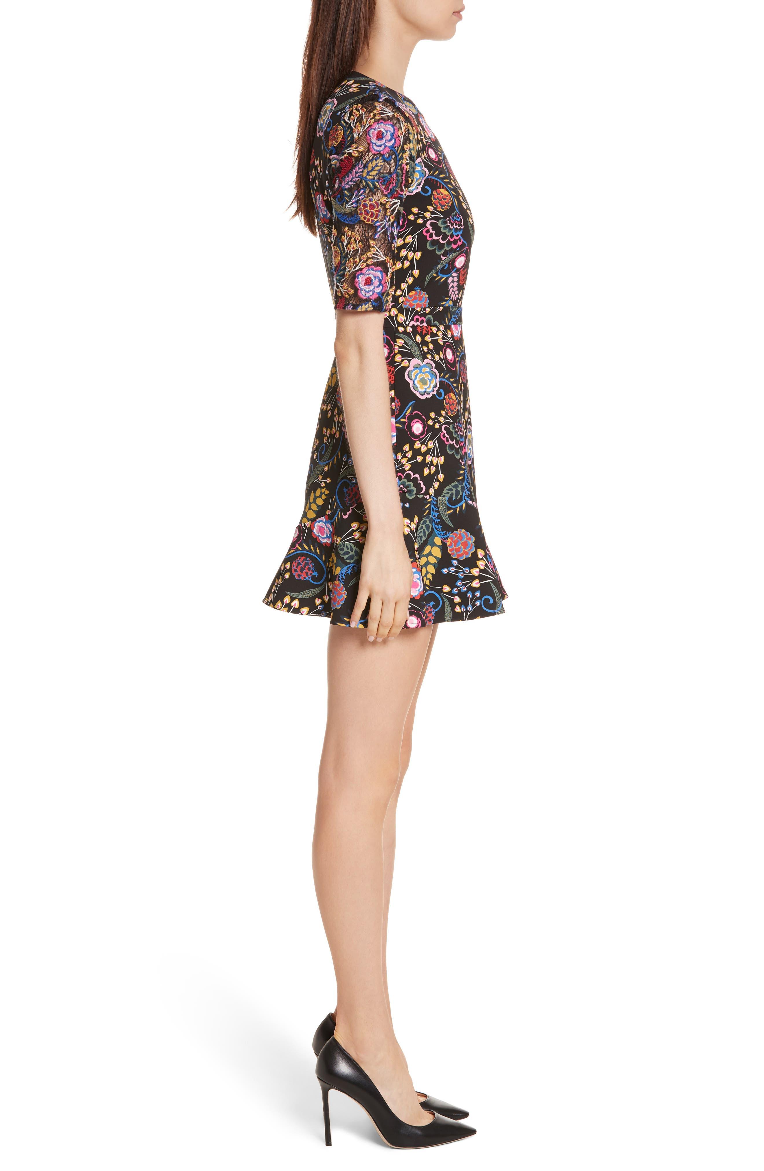 Celia Floral Print Dress,                             Alternate thumbnail 3, color,                             005