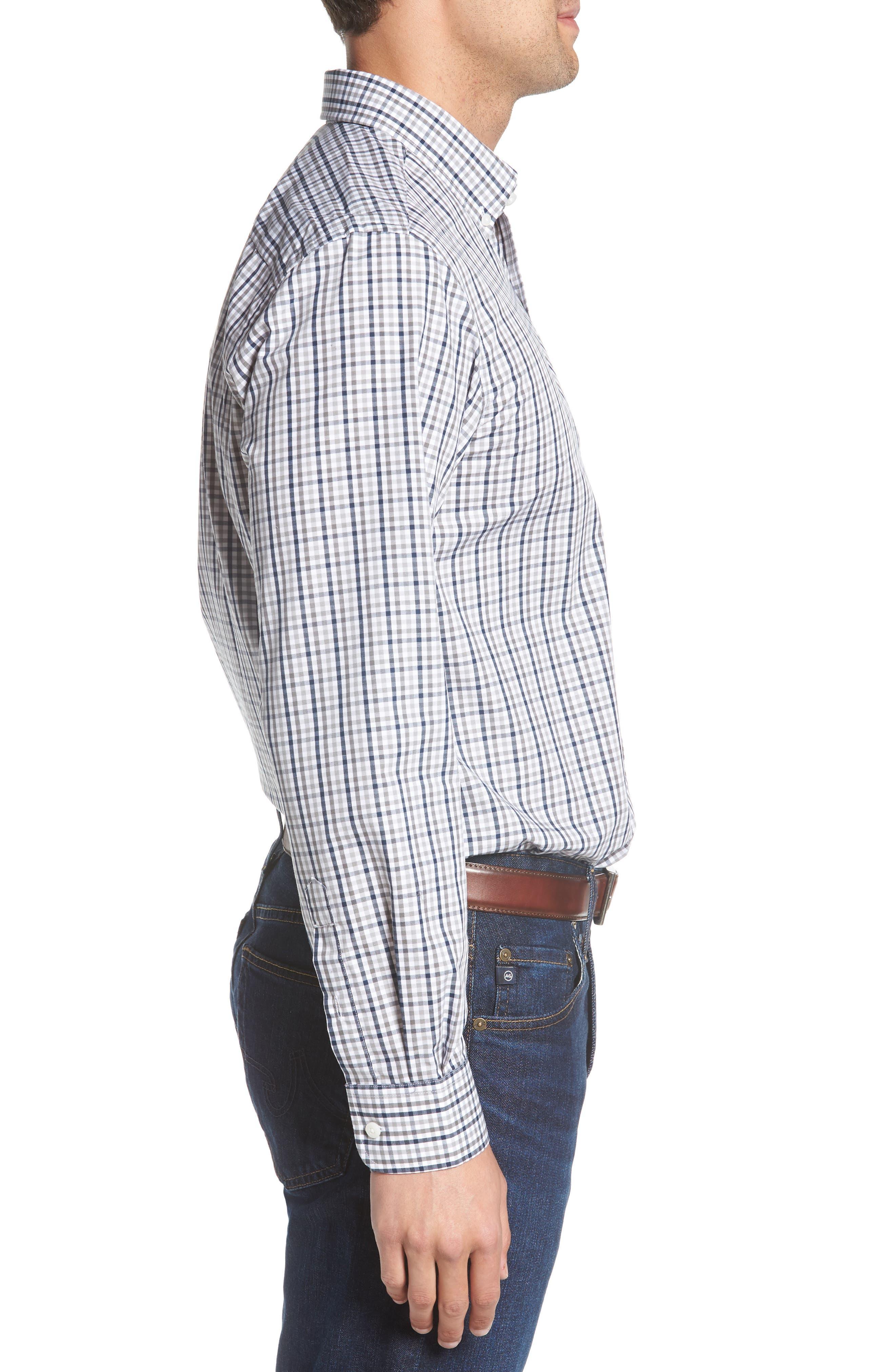 Seattle Seahawks - Gilman Regular Fit Plaid Sport Shirt,                             Alternate thumbnail 3, color,                             LIBERTY NAVY