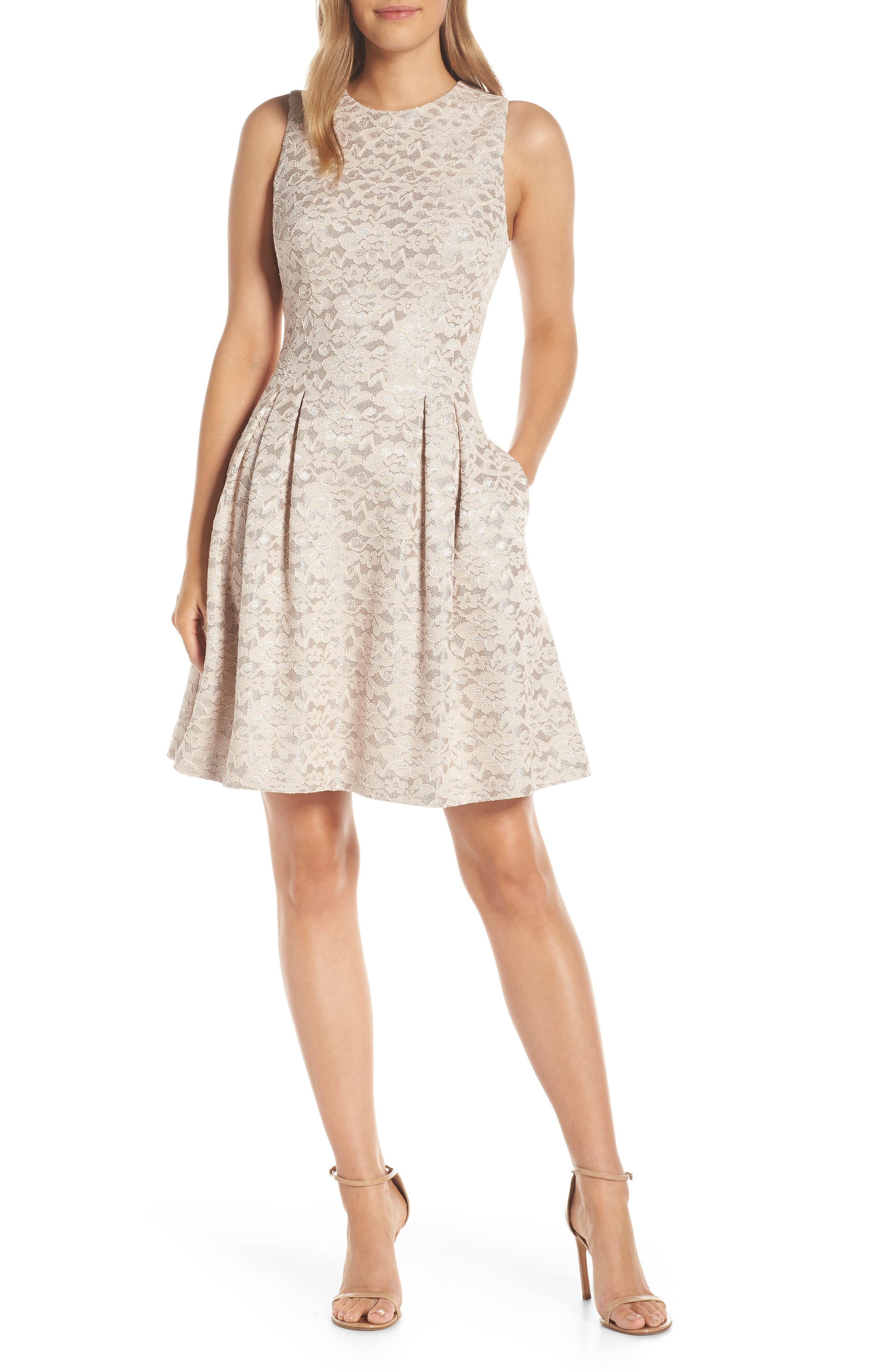 Vince Camuto Fused Lace Fit & Flare Dress, Pink
