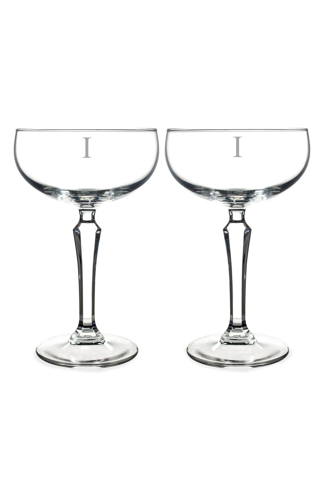 Monogram Coupe Cocktail/Champagne Glasses,                             Main thumbnail 11, color,