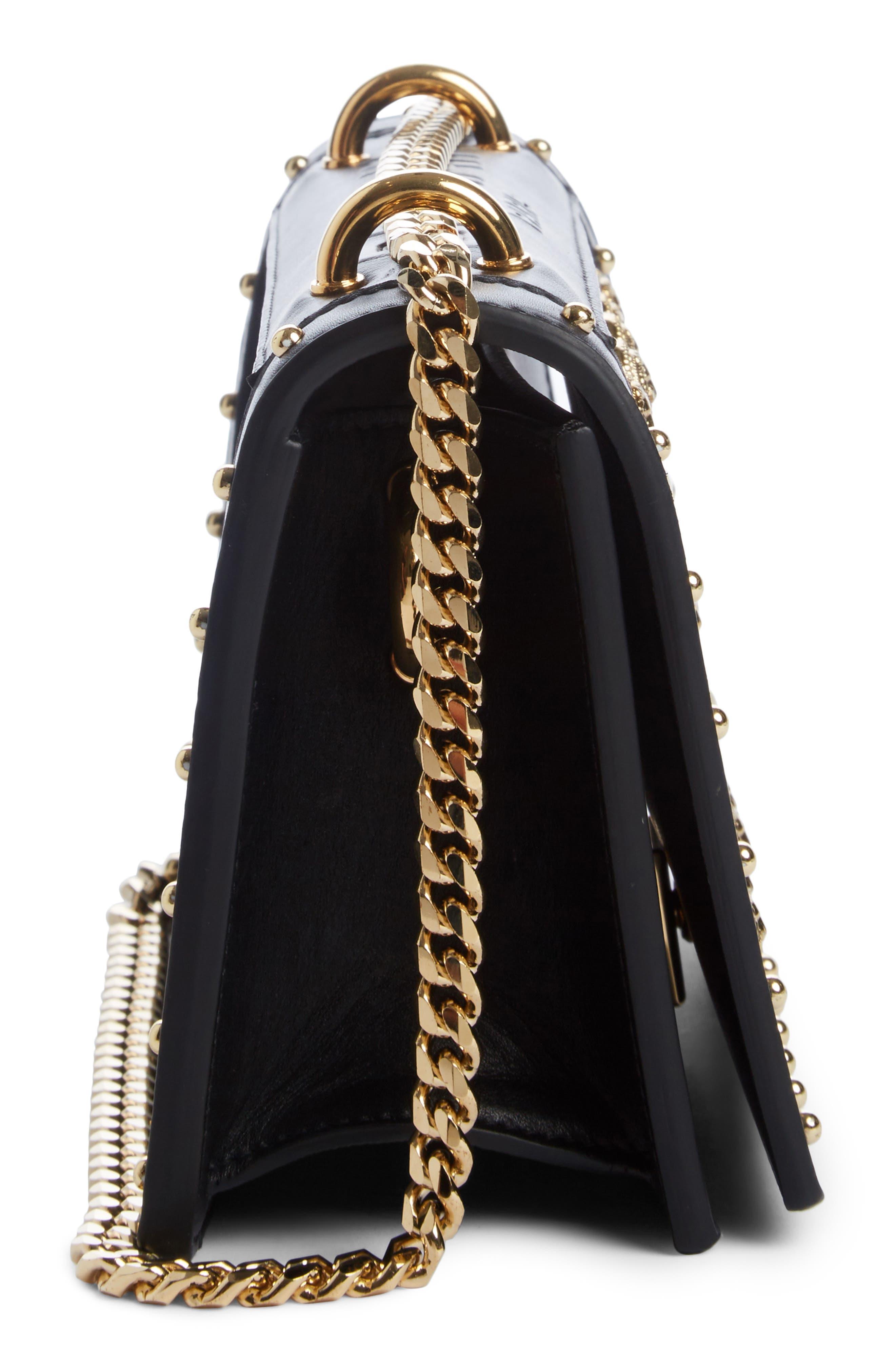 Love Studded Leather Shoulder Bag,                             Alternate thumbnail 3, color,                             NOIR