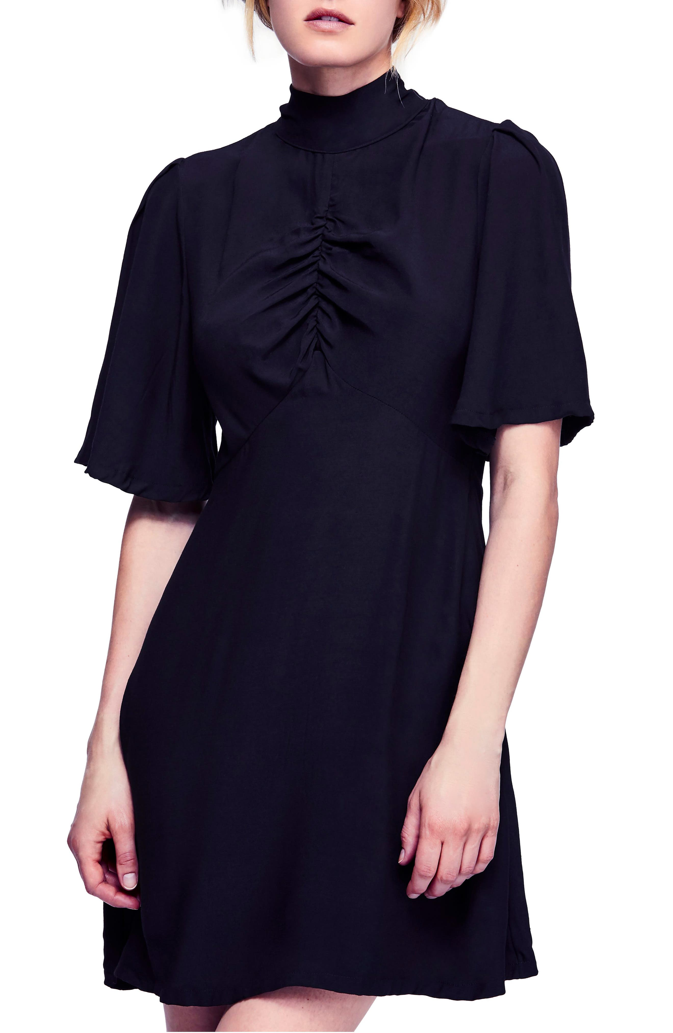 Be My Baby Ruched Front Elbow Sleeve Dress,                             Main thumbnail 1, color,                             BLACK