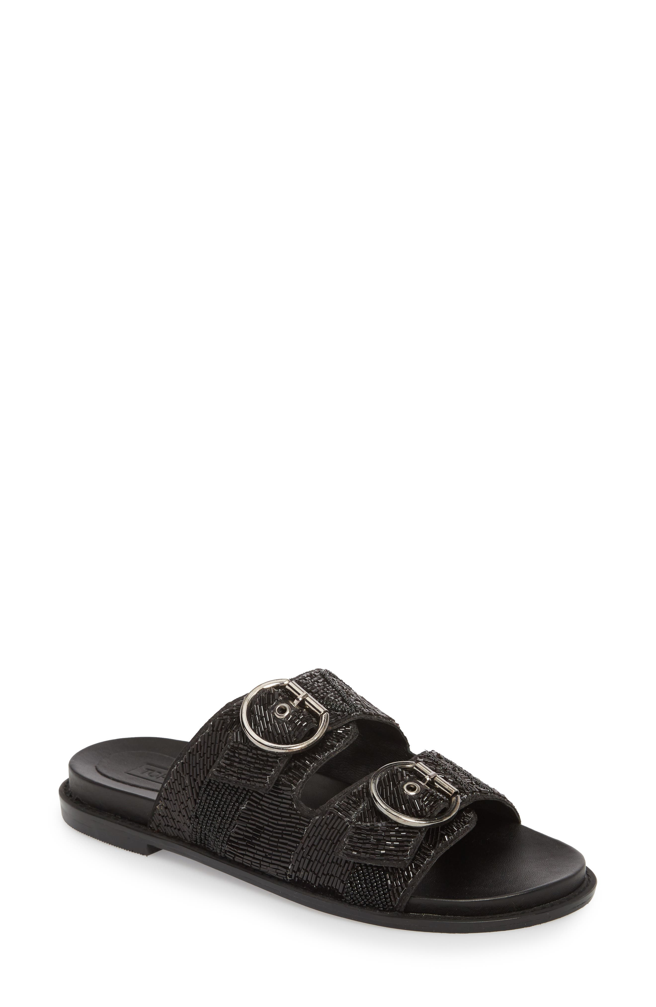 Frankie Embellished Slide Sandal,                             Main thumbnail 1, color,                             001