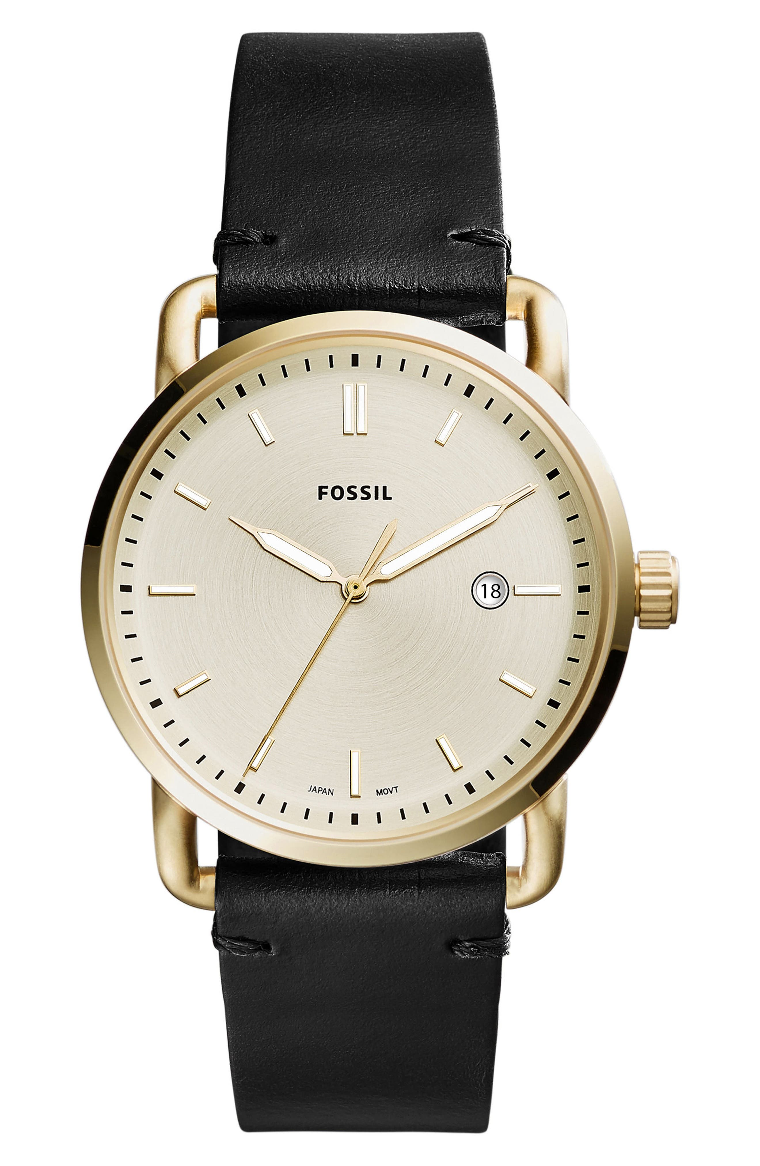 The Commuter Leather Strap Watch, 42mm,                         Main,                         color,