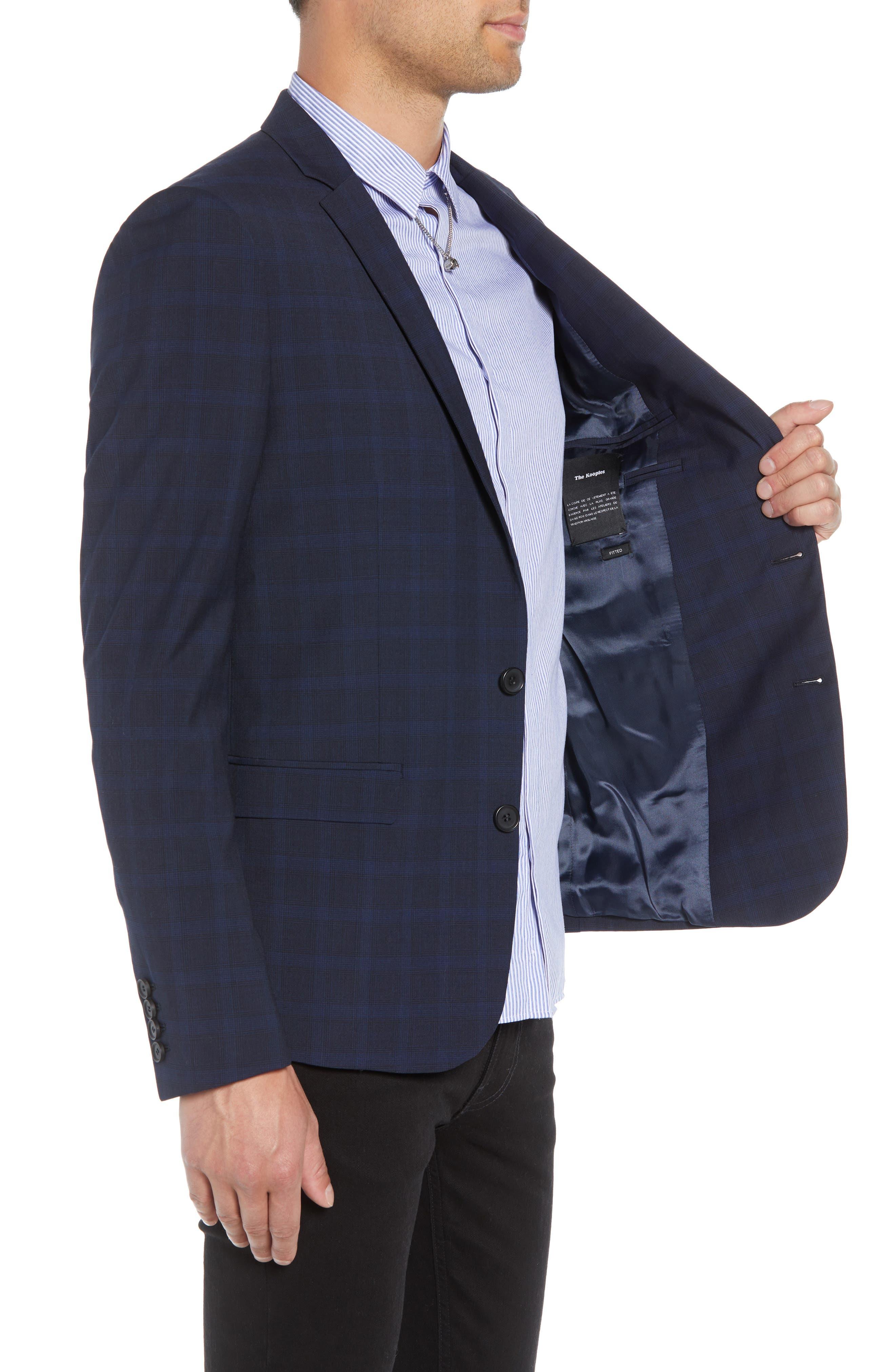 Slim Fit Check Blazer,                             Alternate thumbnail 3, color,                             BLUE