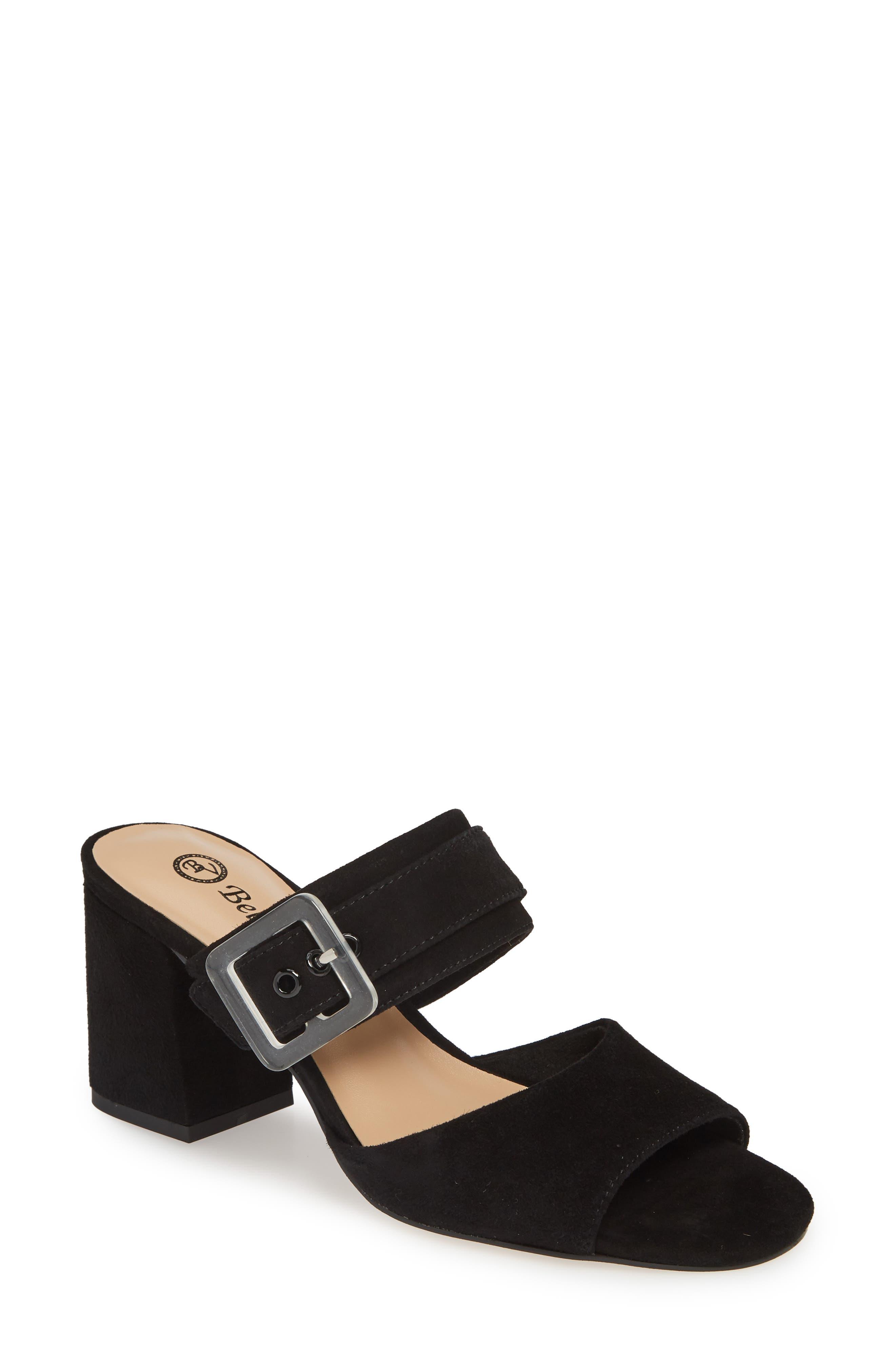 Tory Buckle Slide Sandal, Main, color, BLACK SUEDE