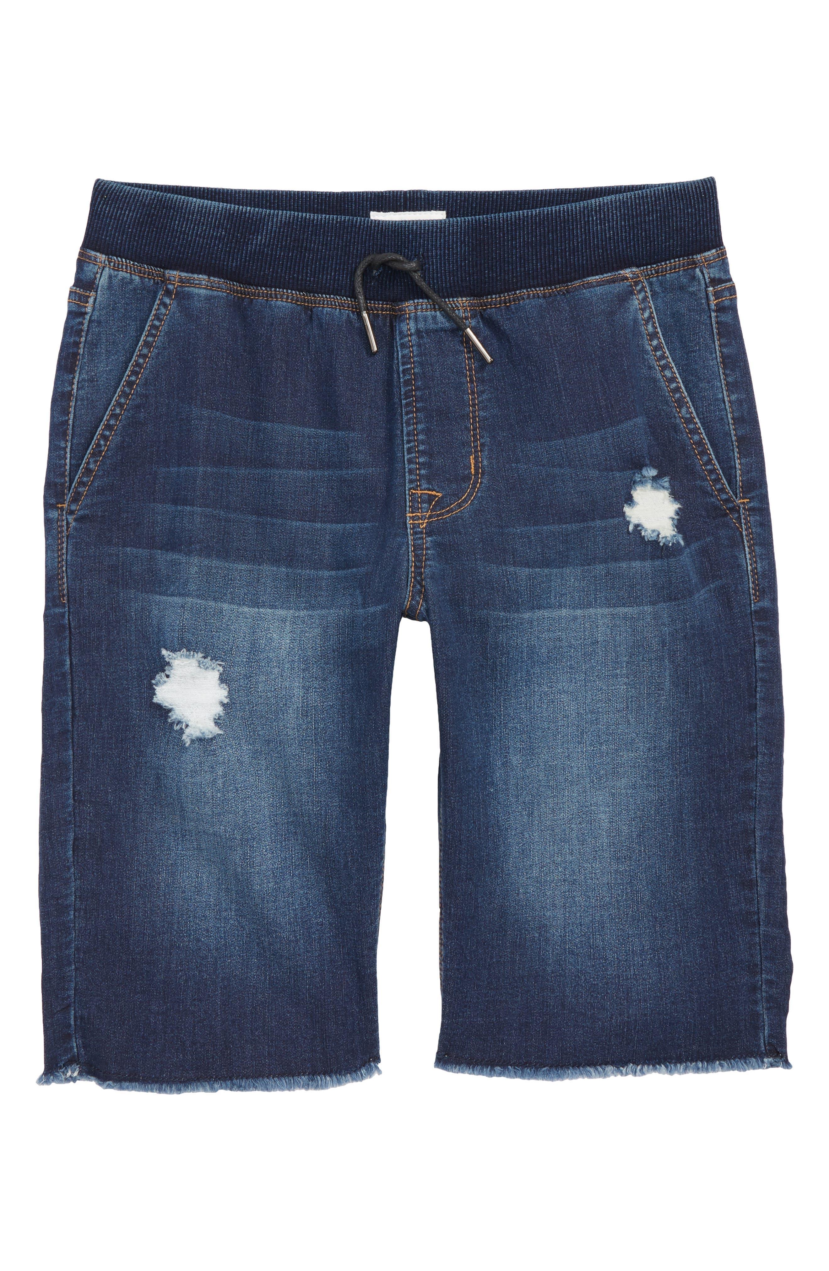 Knit Cutoff Denim Shorts,                             Main thumbnail 1, color,                             481