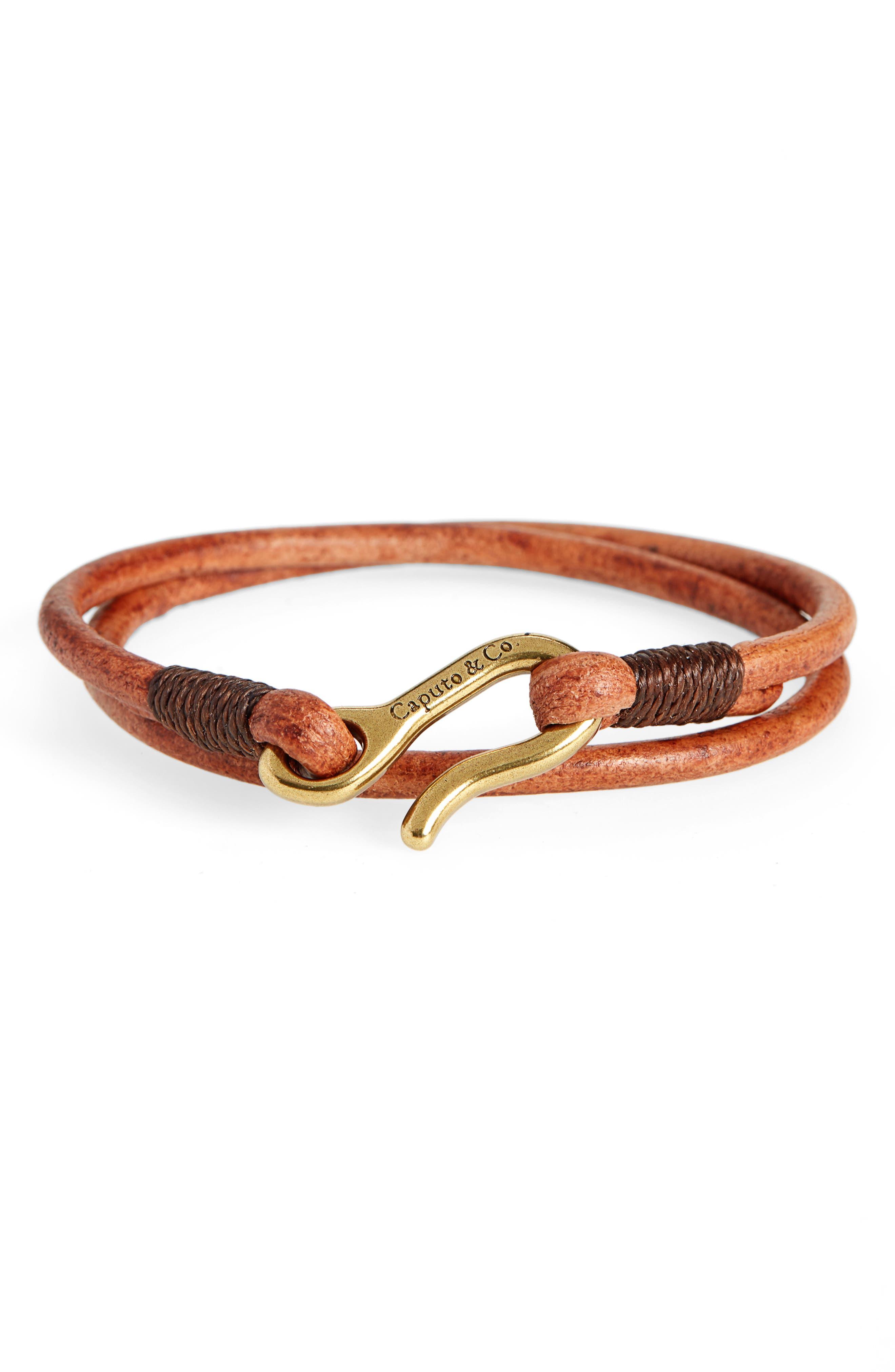 CAPUTO & CO. Leather Wrap Bracelet in Tan