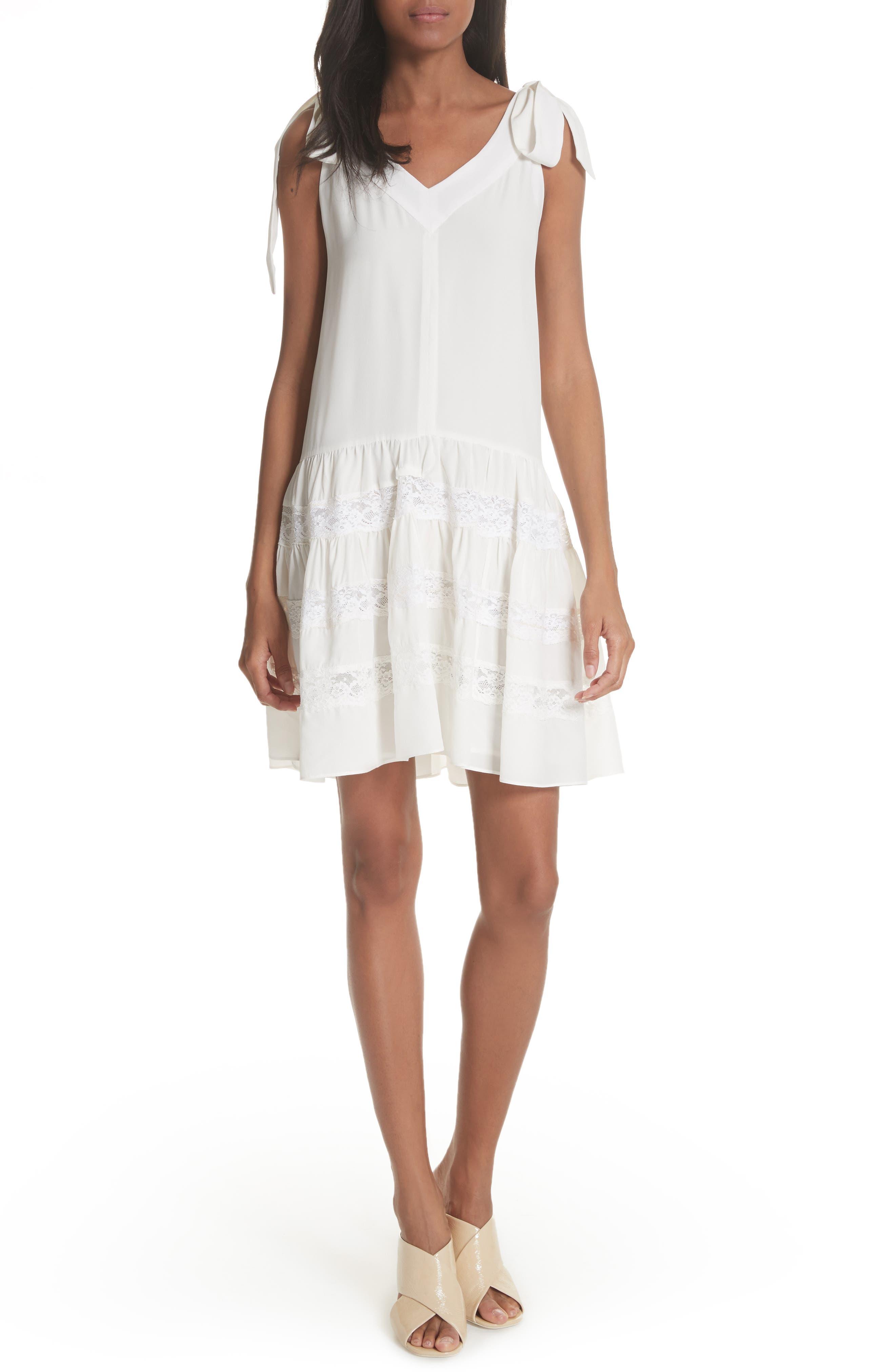 Sleeveless Silk & Lace Dress,                         Main,                         color,