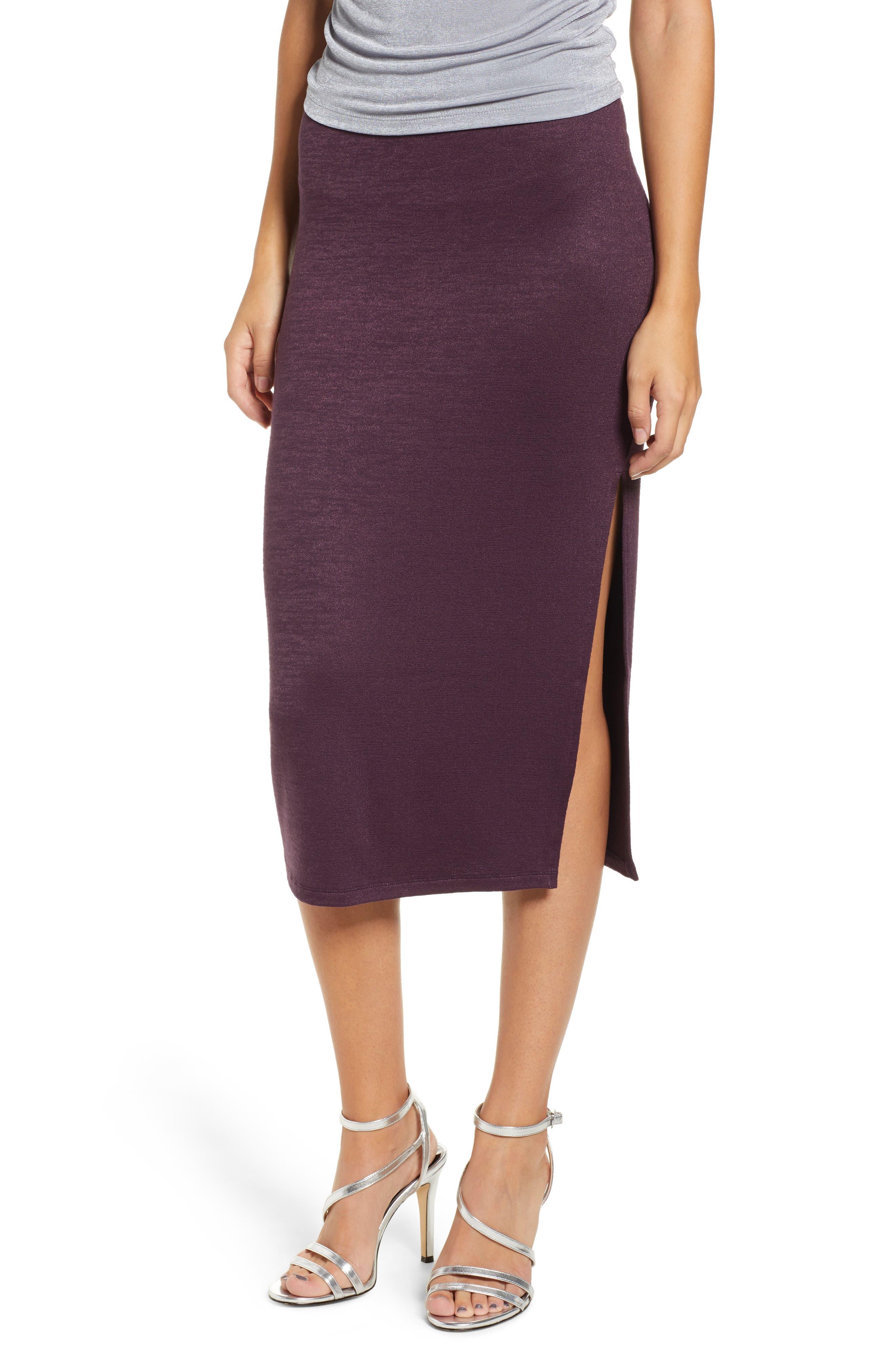 Leith High Slit Marled Midi Skirt, Purple