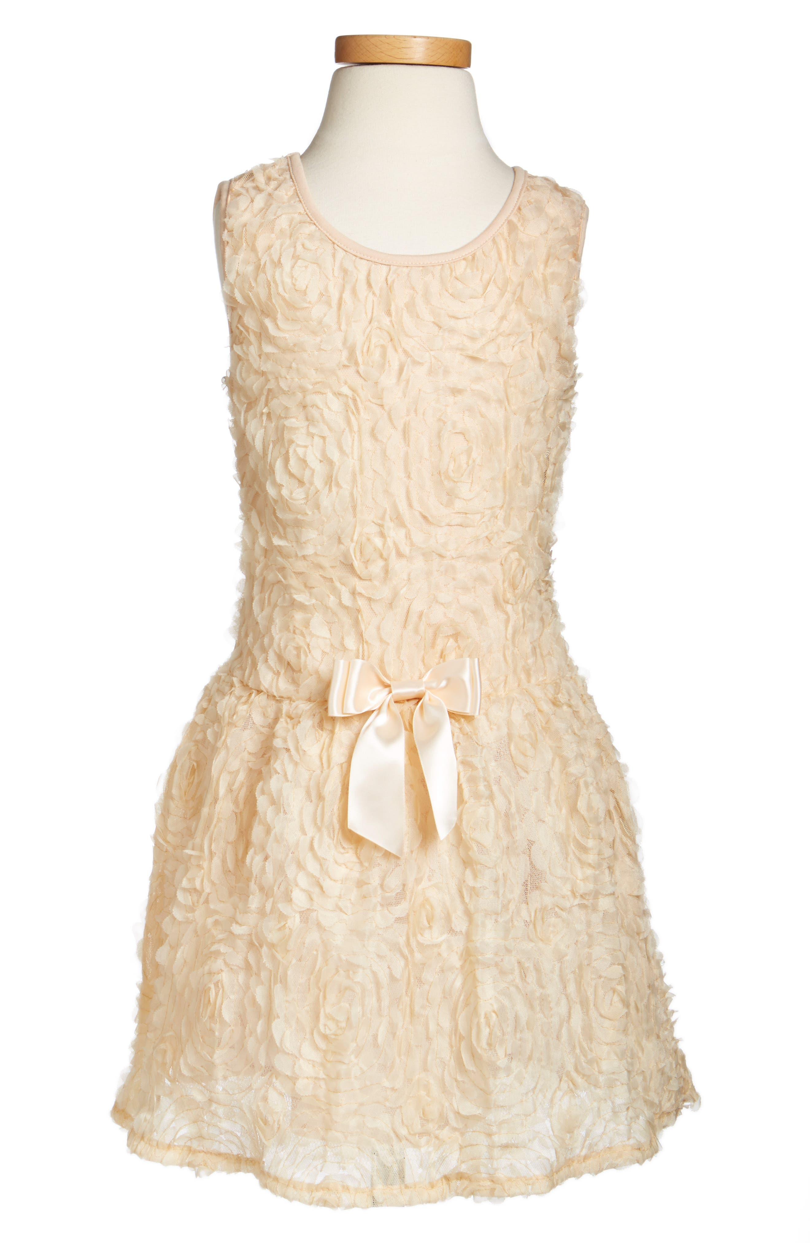 Rosette Drop Waist Dress,                             Alternate thumbnail 4, color,                             IVORY