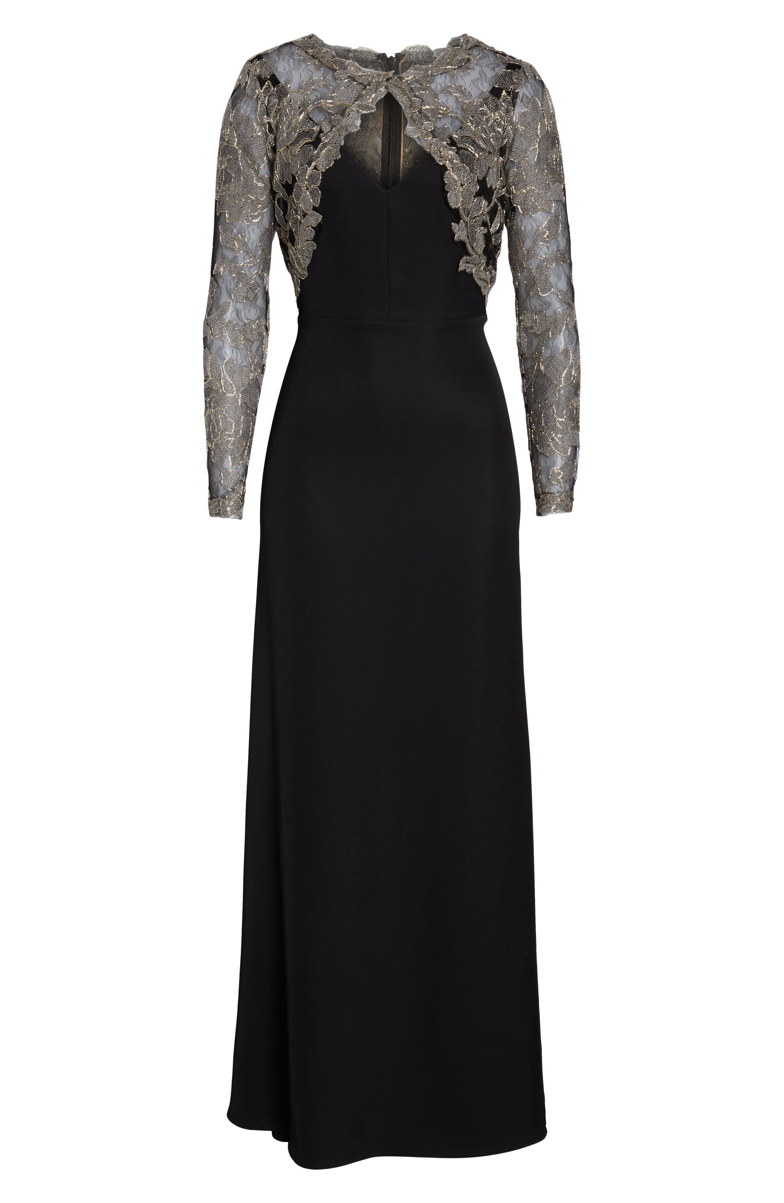TADASHI SHOJI,                             Crepe & Embroidered Lace Gown,                             Alternate thumbnail 7, color,                             SMOKE PEARL/ BLACK