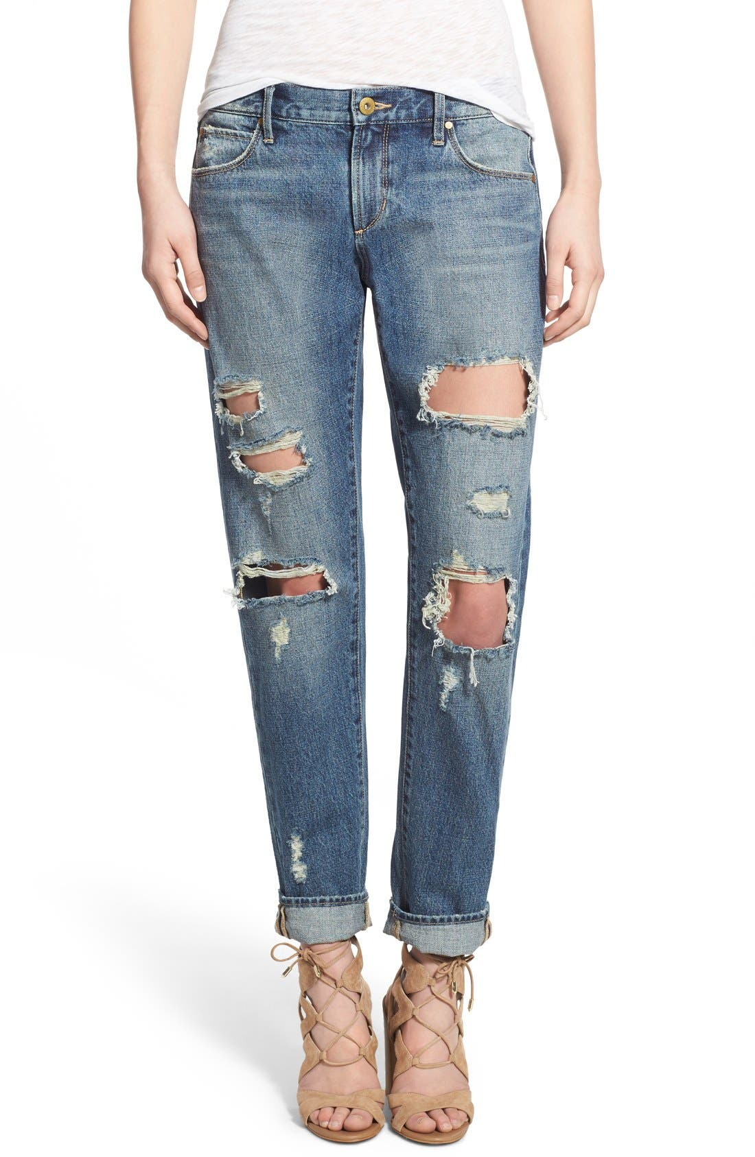 ARTICLES OF SOCIETY,                             'Janis' Destroyed Boyfriend Jeans,                             Main thumbnail 1, color,                             408