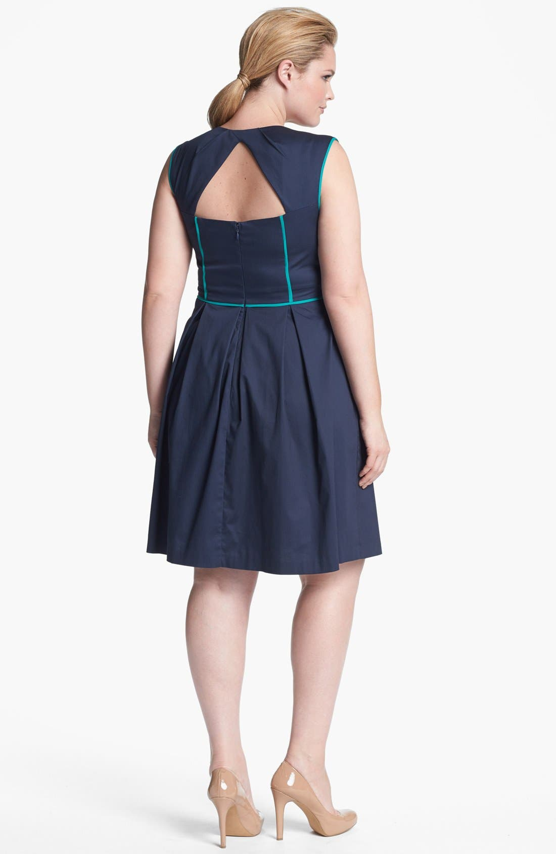 Piped Cotton Sheath Dress,                             Alternate thumbnail 2, color,                             400