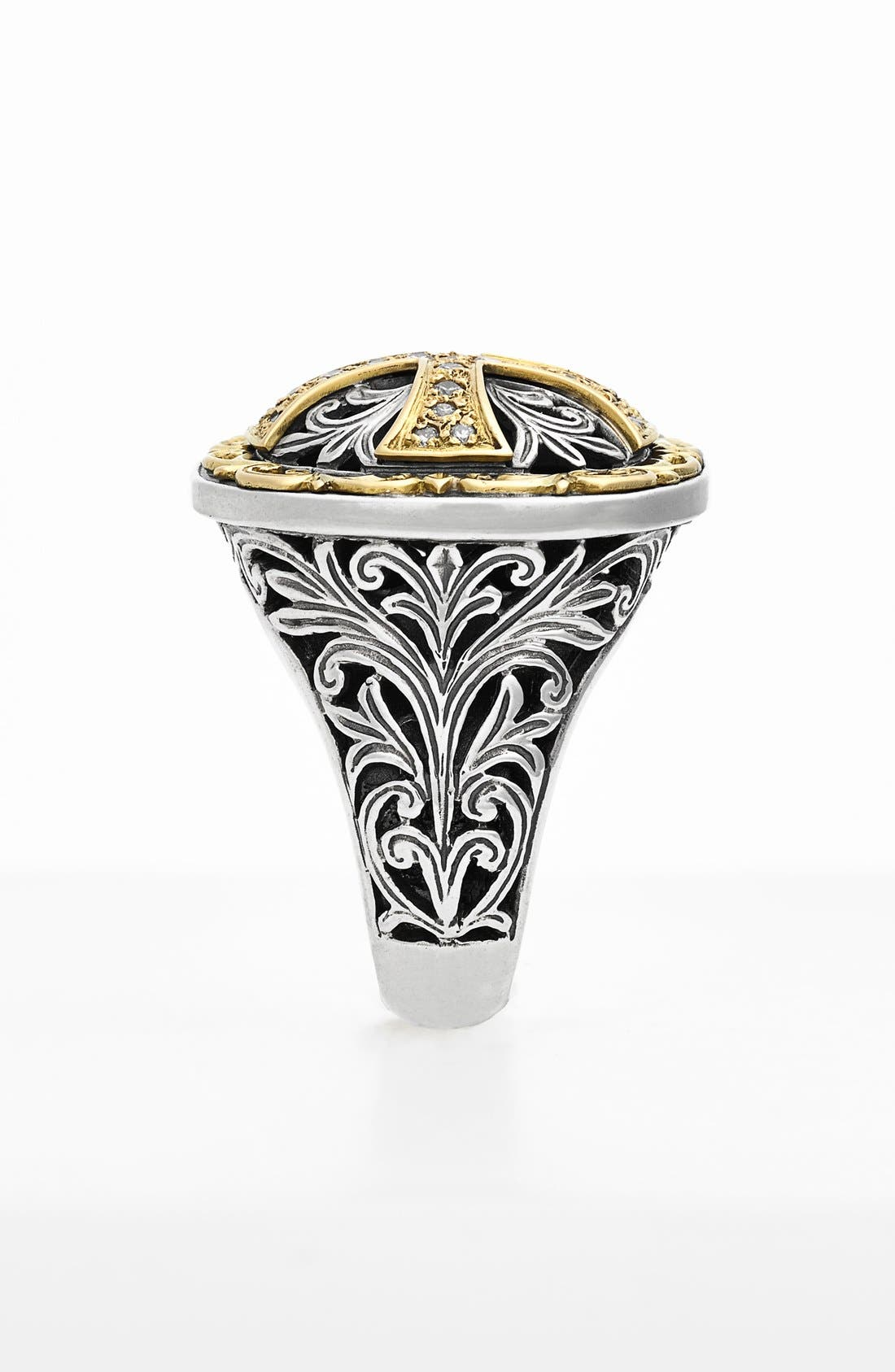'Diamond Classics' Diamond Cross Two-Tone Ring,                             Alternate thumbnail 2, color,                             SILVER/ GOLD