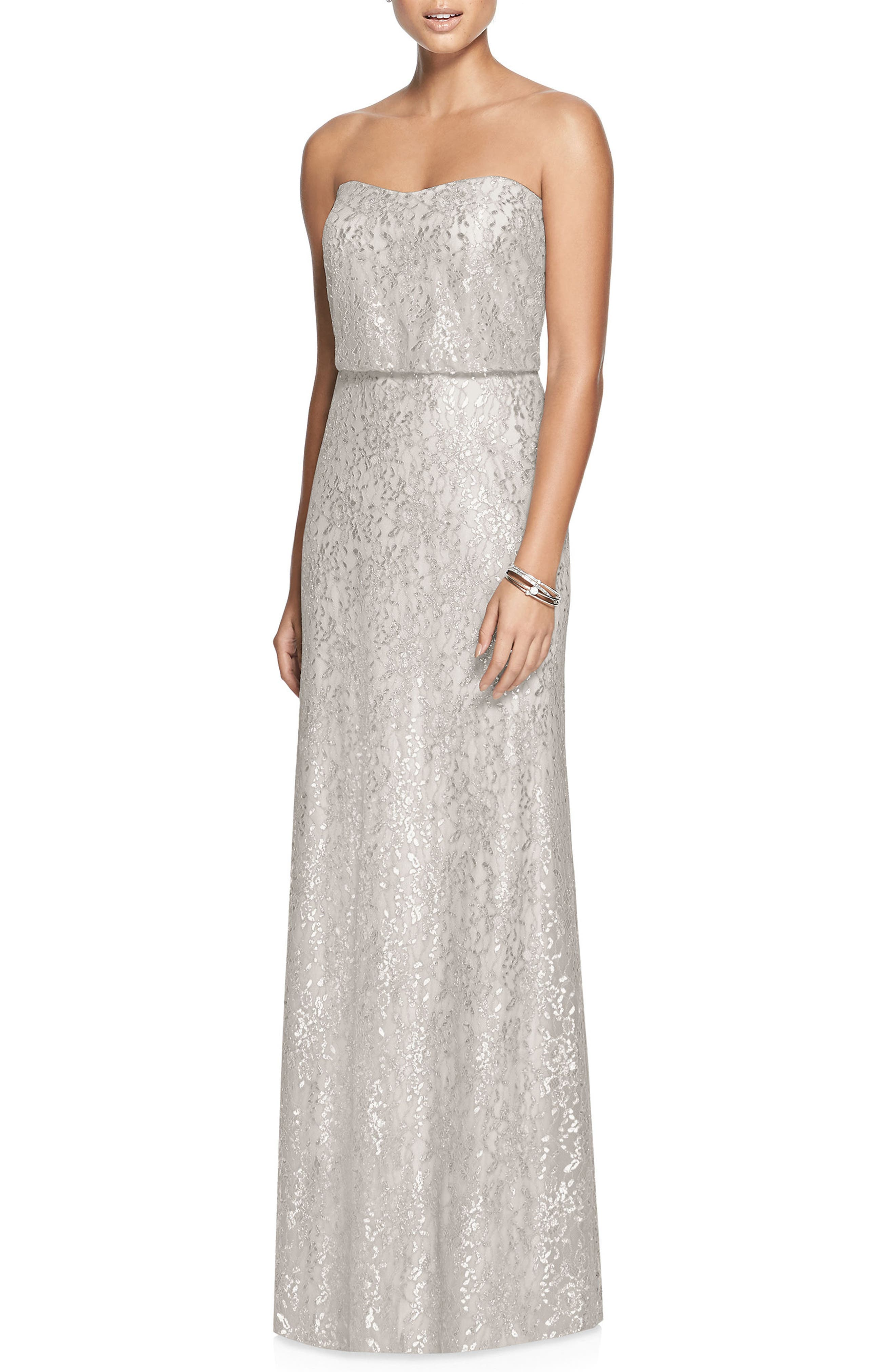 Metallic Lace Strapless Blouson Gown,                             Main thumbnail 1, color,                             OYSTER