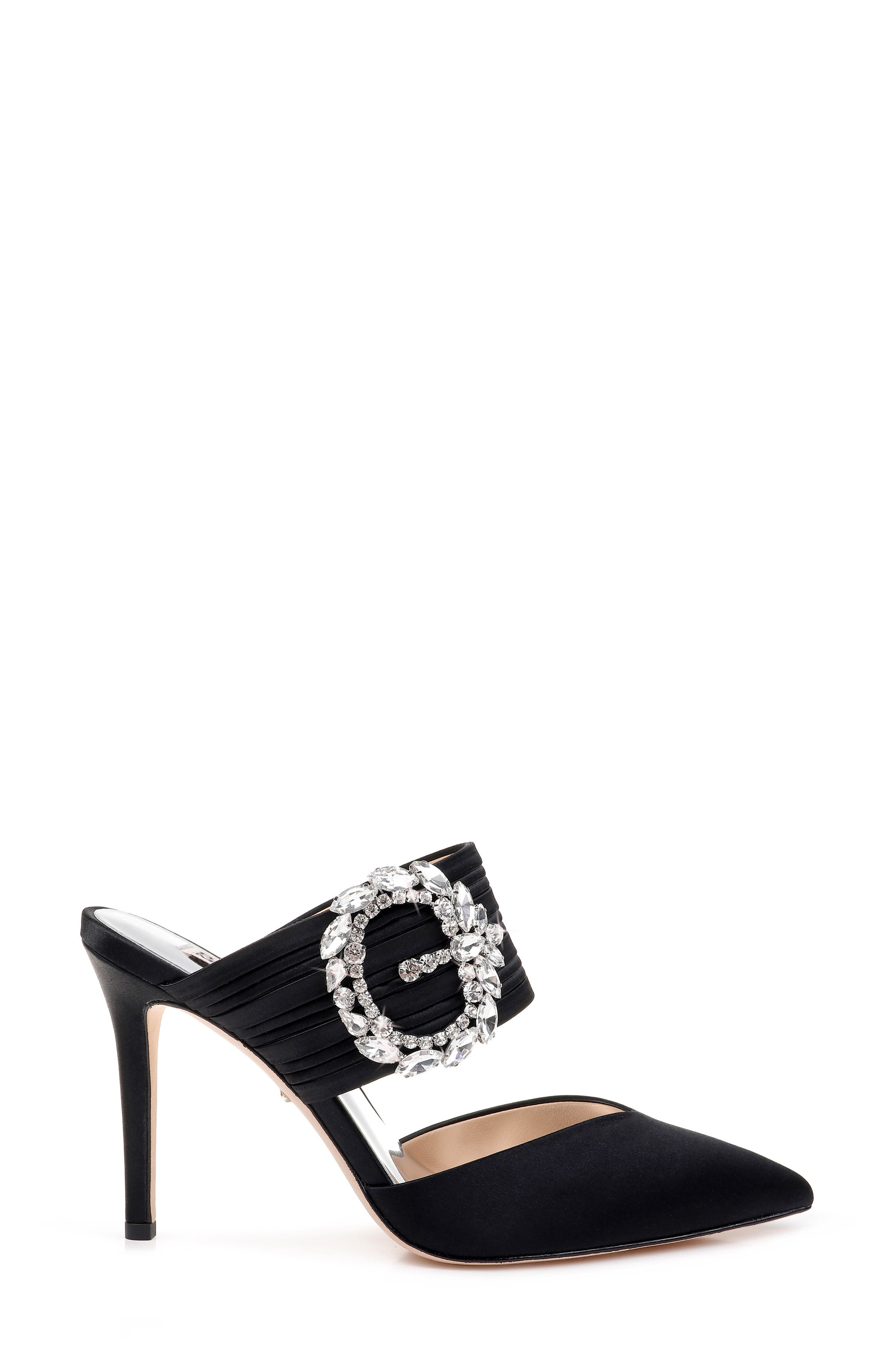 Badgley Mischka Crystal Buckle Mule,                             Alternate thumbnail 3, color,                             BLACK SATIN