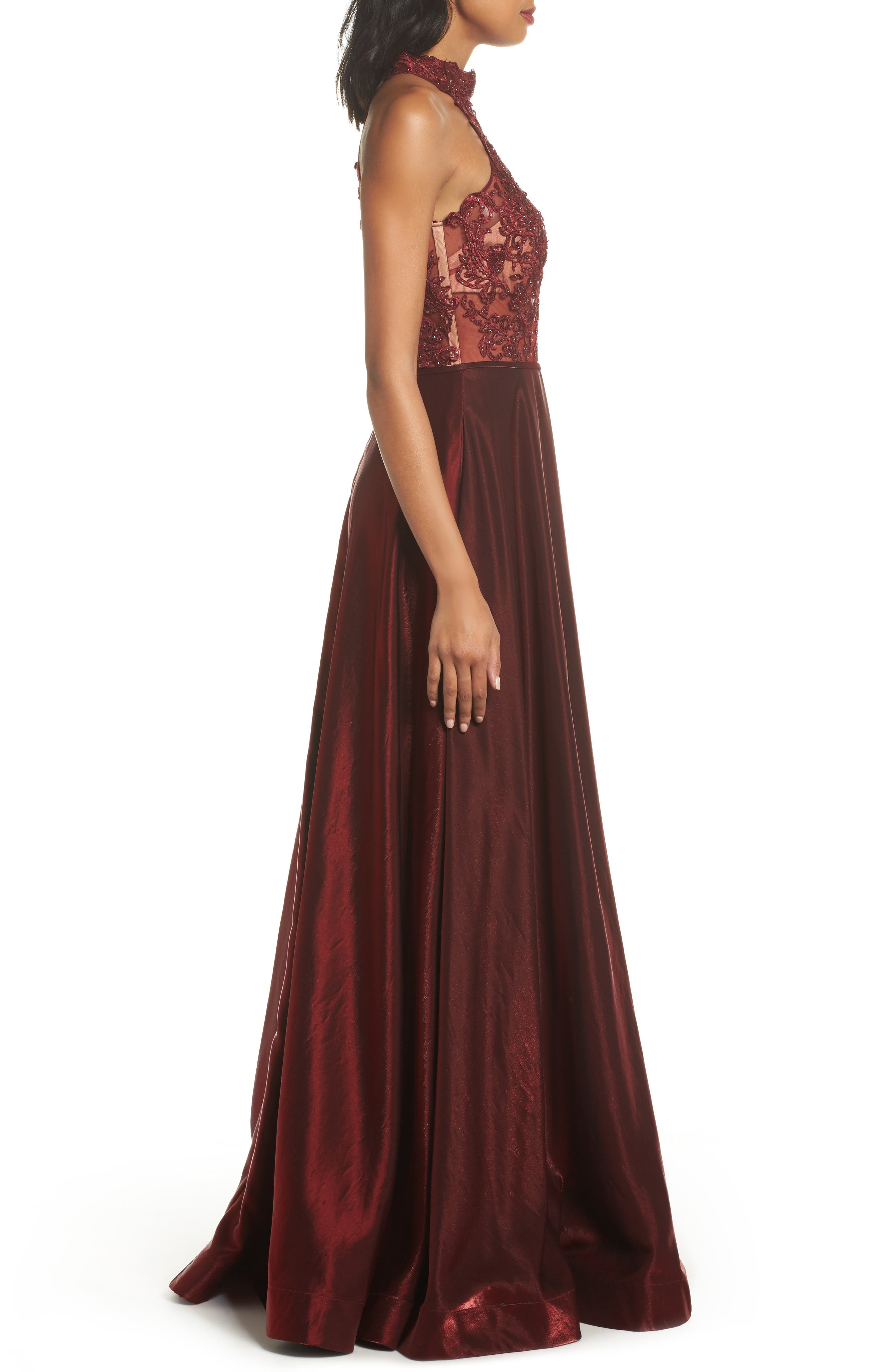 Embroidered Lace & Satin A-Line Ballgown,                             Alternate thumbnail 6, color,