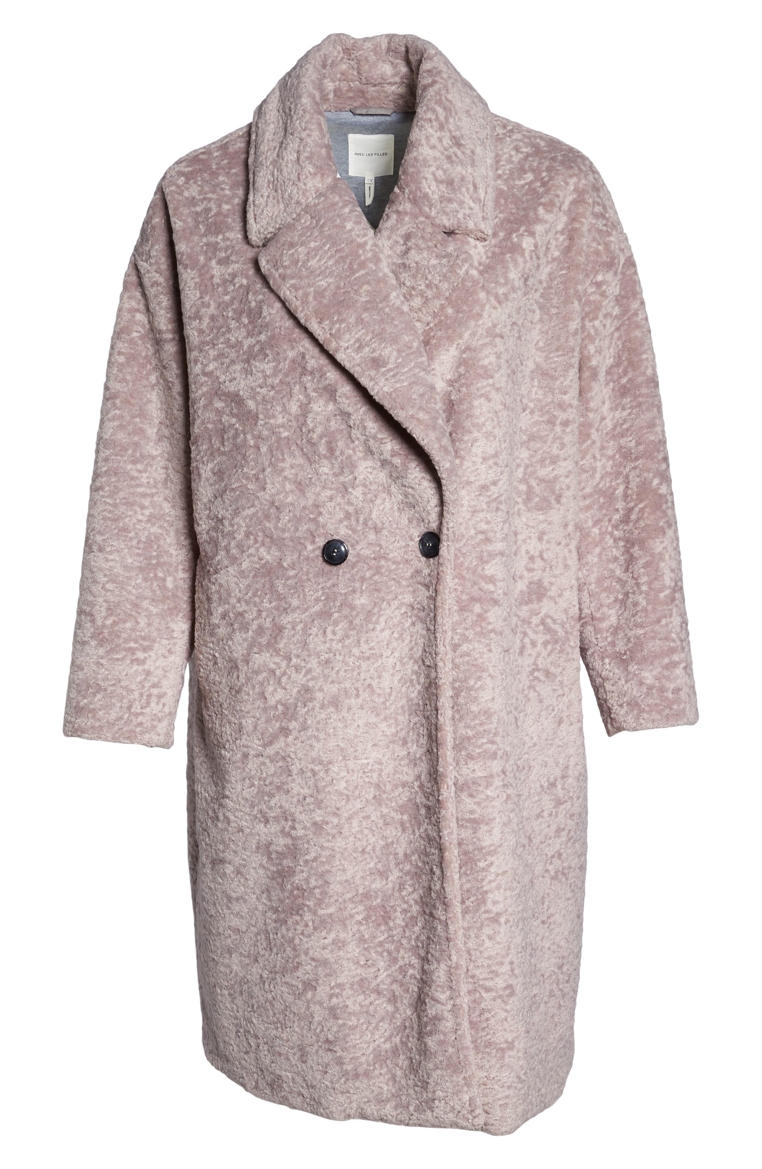 Faux Fur Cocoon Coat,                             Alternate thumbnail 6, color,                             MAUVE