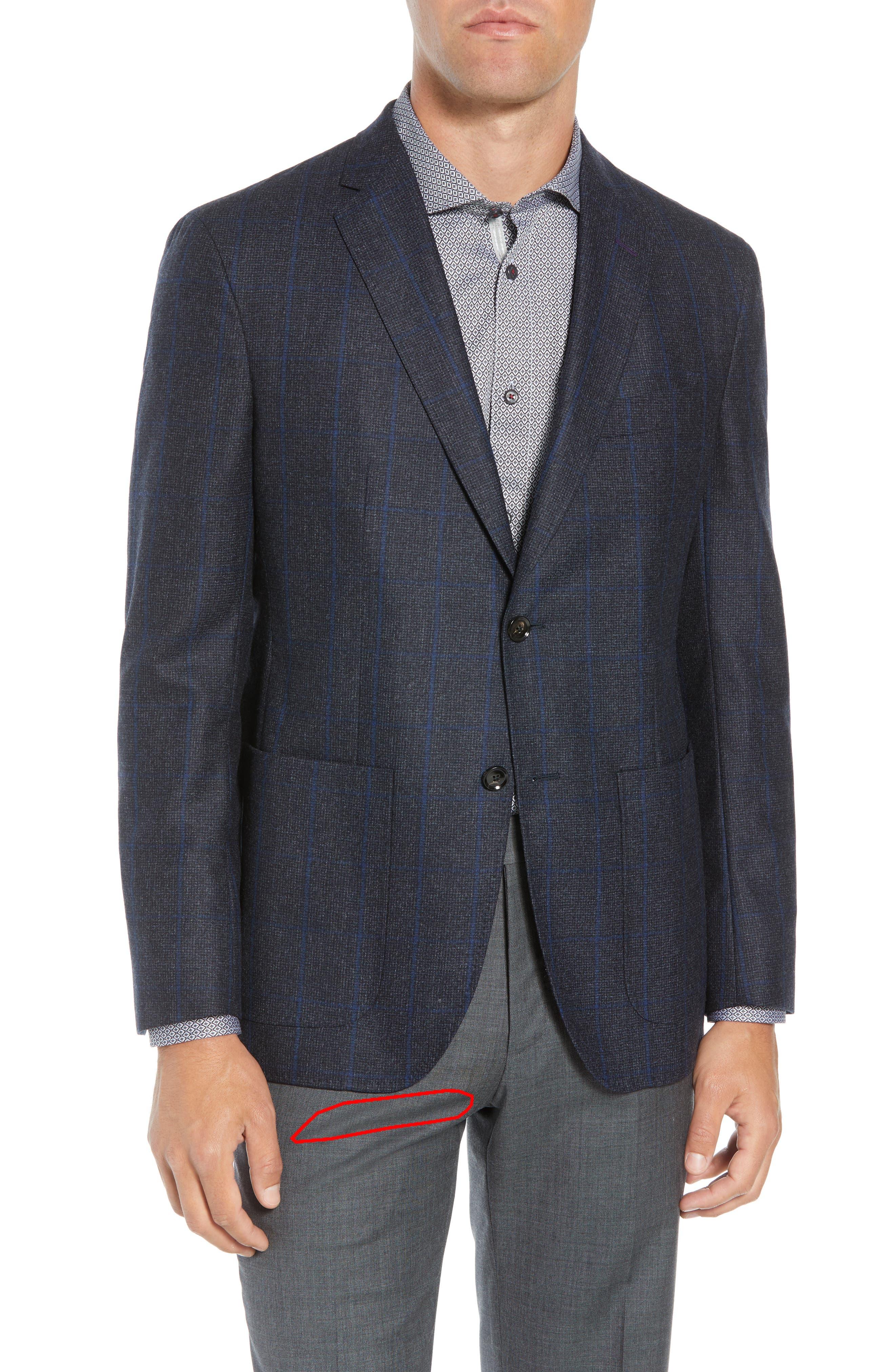 Tucker Trim Fit Windowpane Wool Sport Coat,                             Alternate thumbnail 2, color,                             BLUE