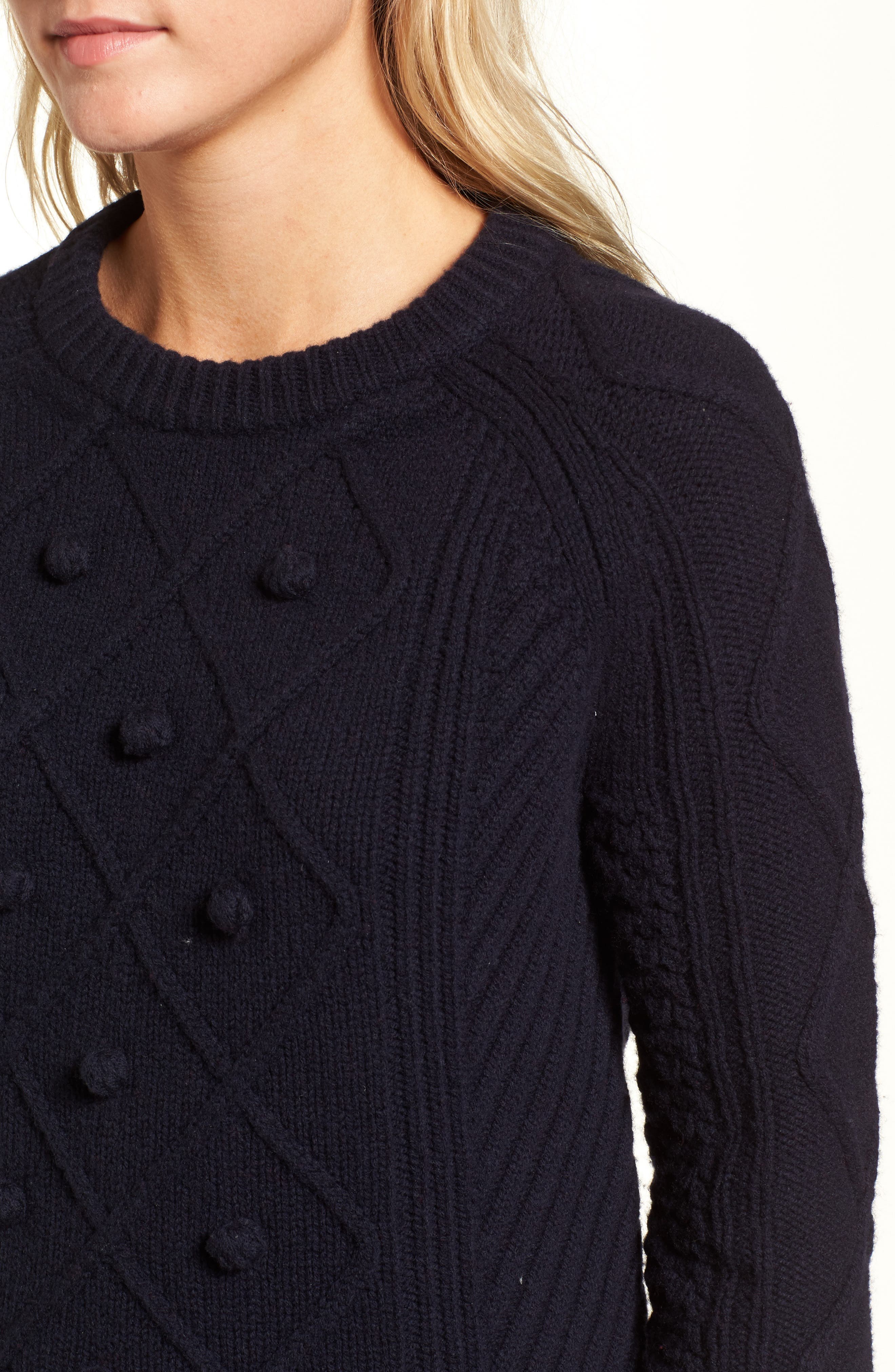 Merino Wool Cable Pompom Sweater,                             Alternate thumbnail 4, color,                             402