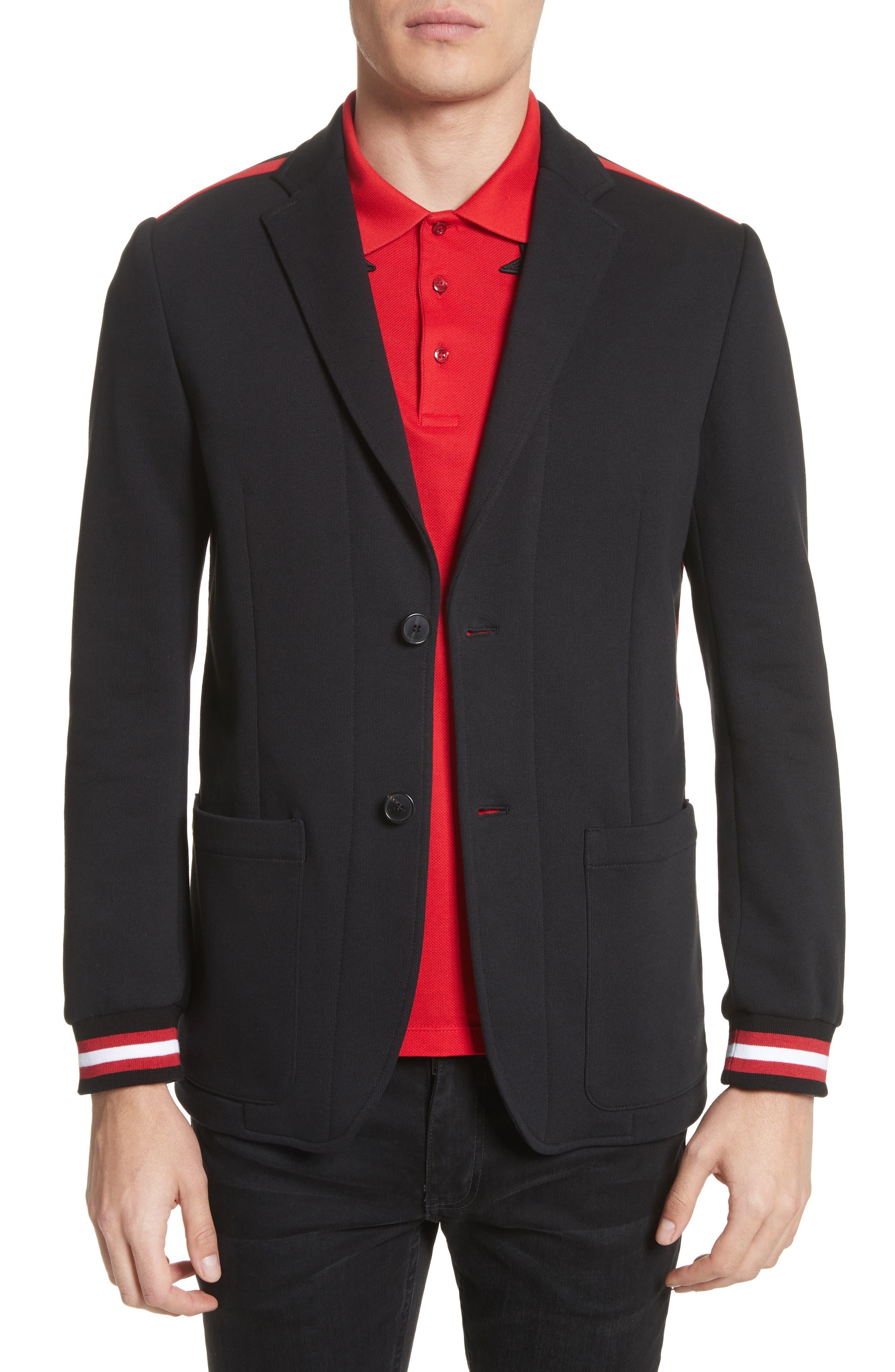 Stripe Trim Jersey Sport Coat,                             Main thumbnail 1, color,                             001