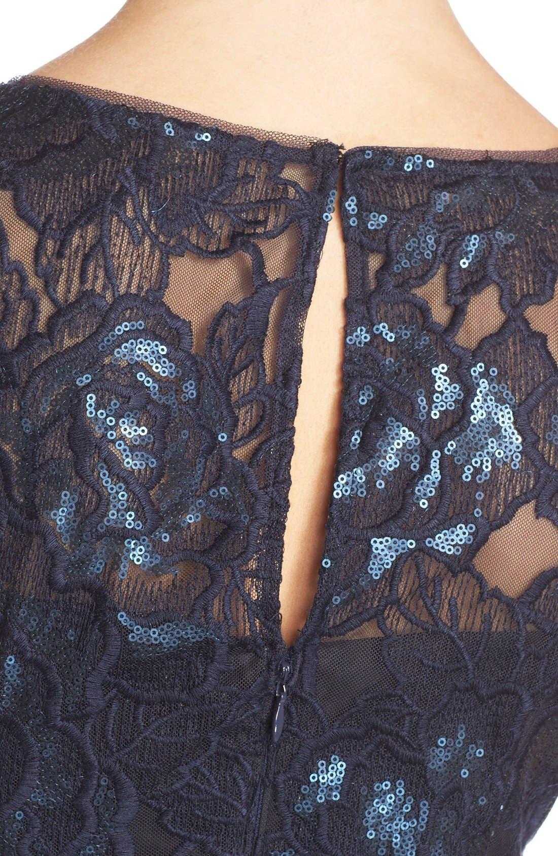 Illusion Sequin Lace Sheath Dress,                             Alternate thumbnail 5, color,                             412