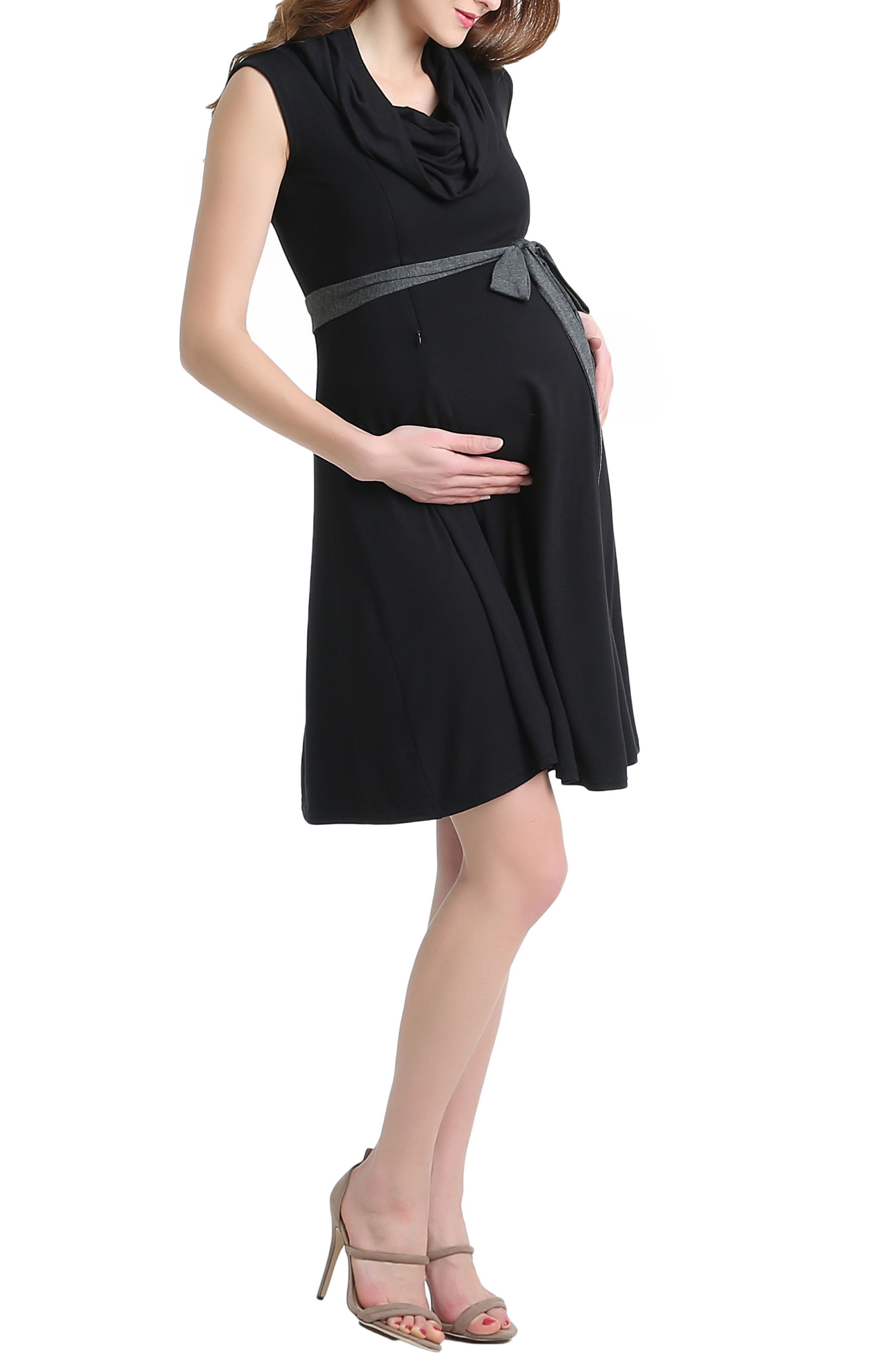 Megan Cowl Neck Maternity/Nursing Dress,                             Alternate thumbnail 4, color,                             001