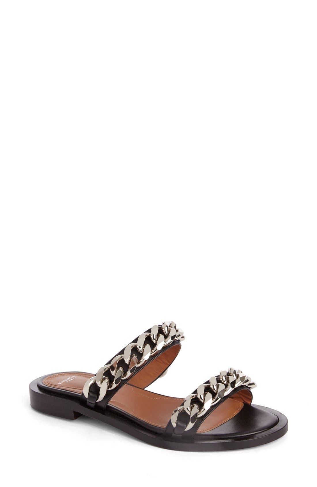 Double Chain Slide Sandal,                             Main thumbnail 1, color,                             BLACK