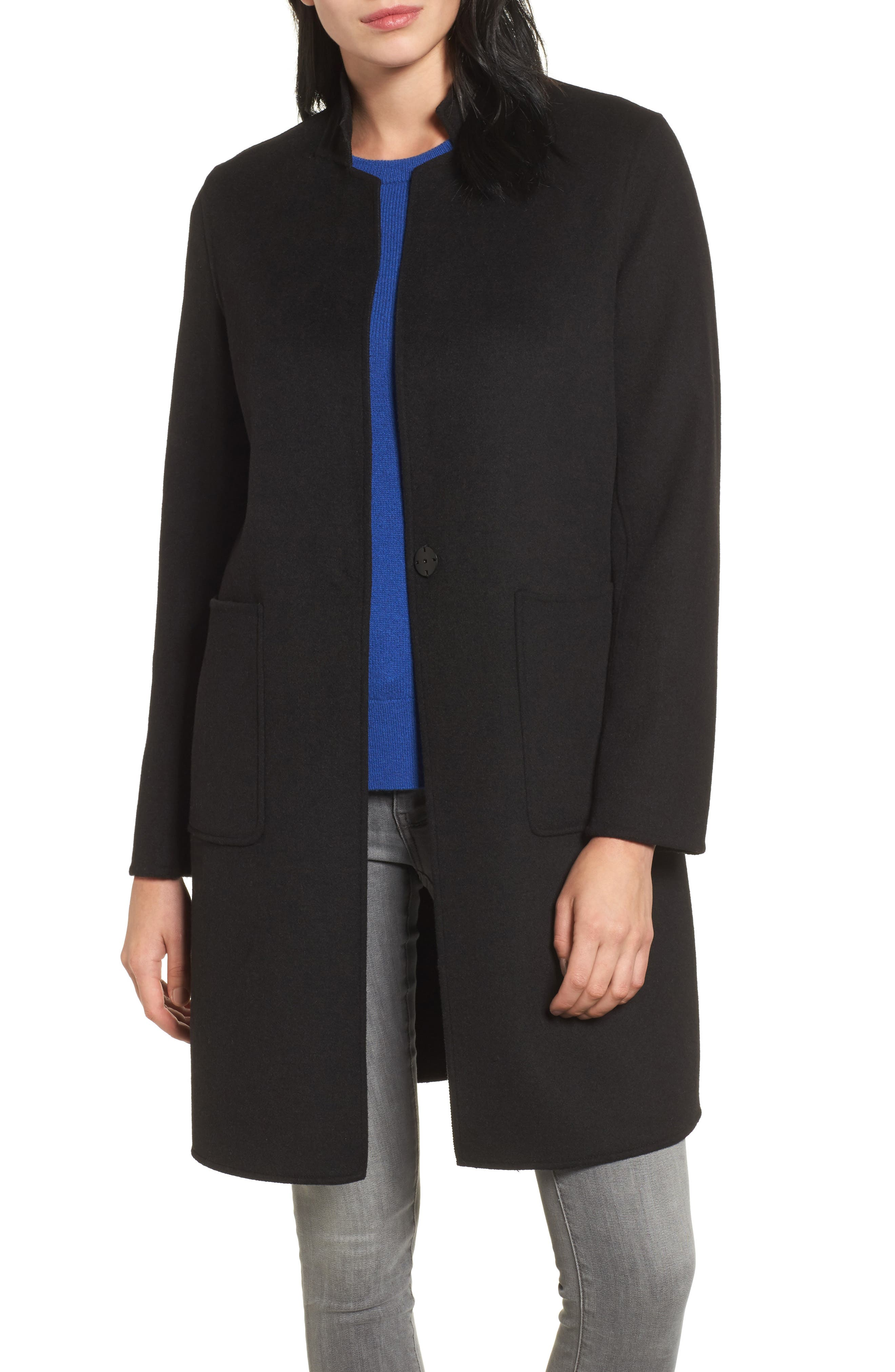Double Face Wool Blend Coat,                             Main thumbnail 1, color,                             001