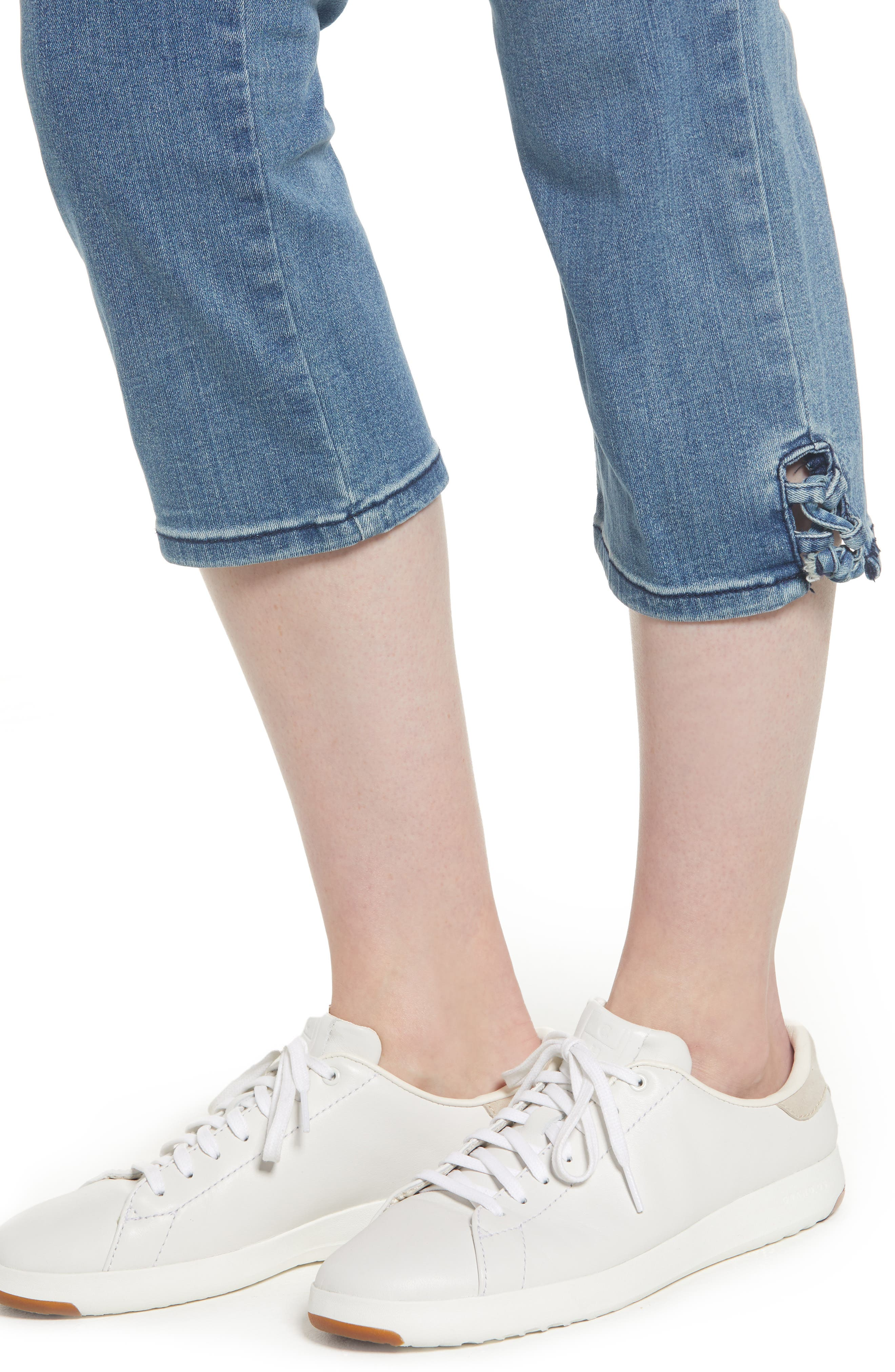 High Waist Lace Up Hem Capri Jeans,                             Alternate thumbnail 4, color,                             417